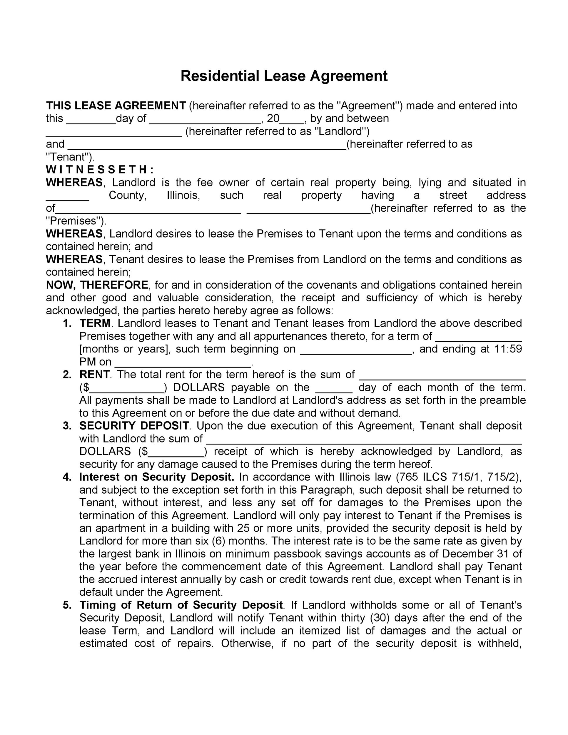 42 Rental Application Forms  Lease Agreement Templates - residential rental agreement