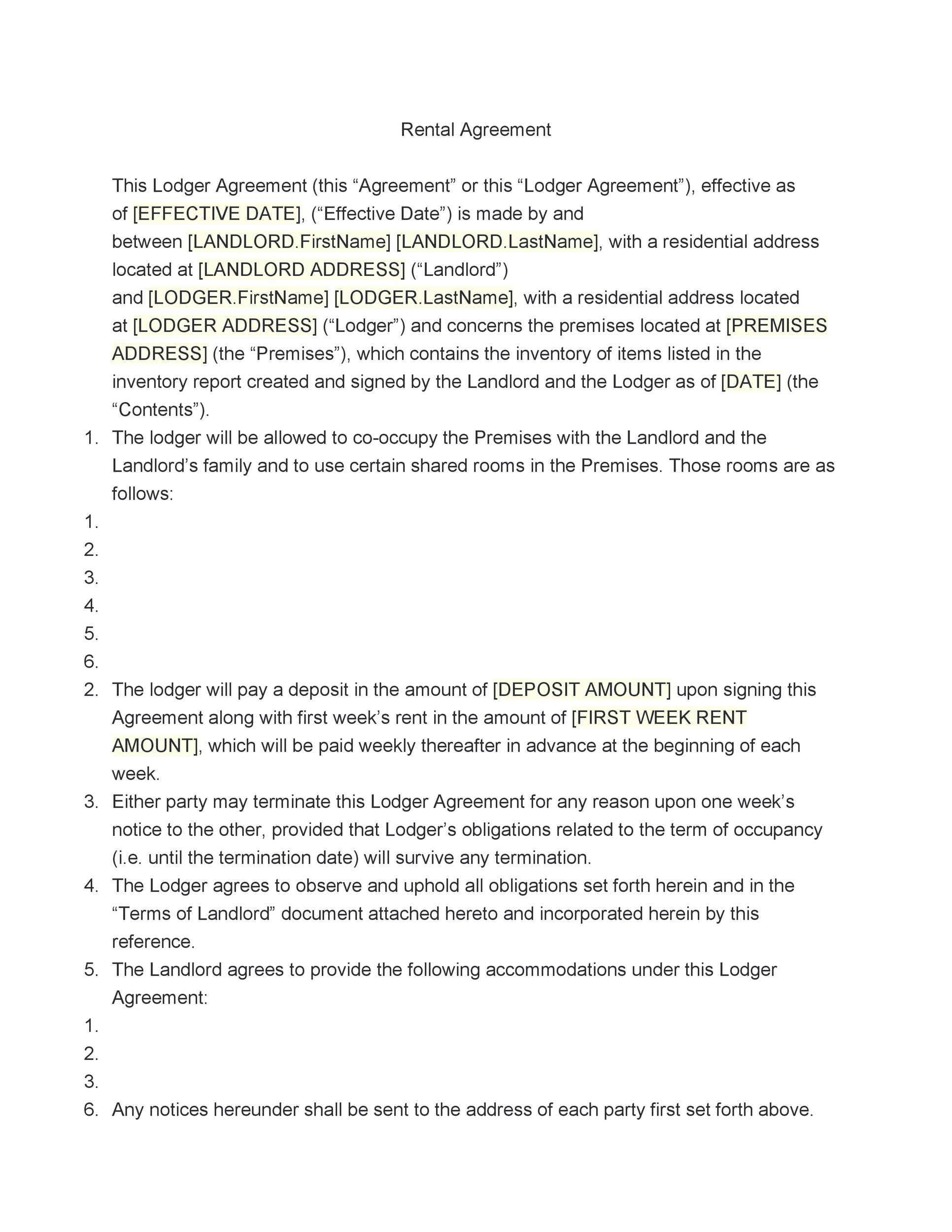 42 Rental Application Forms  Lease Agreement Templates - rental agreement template