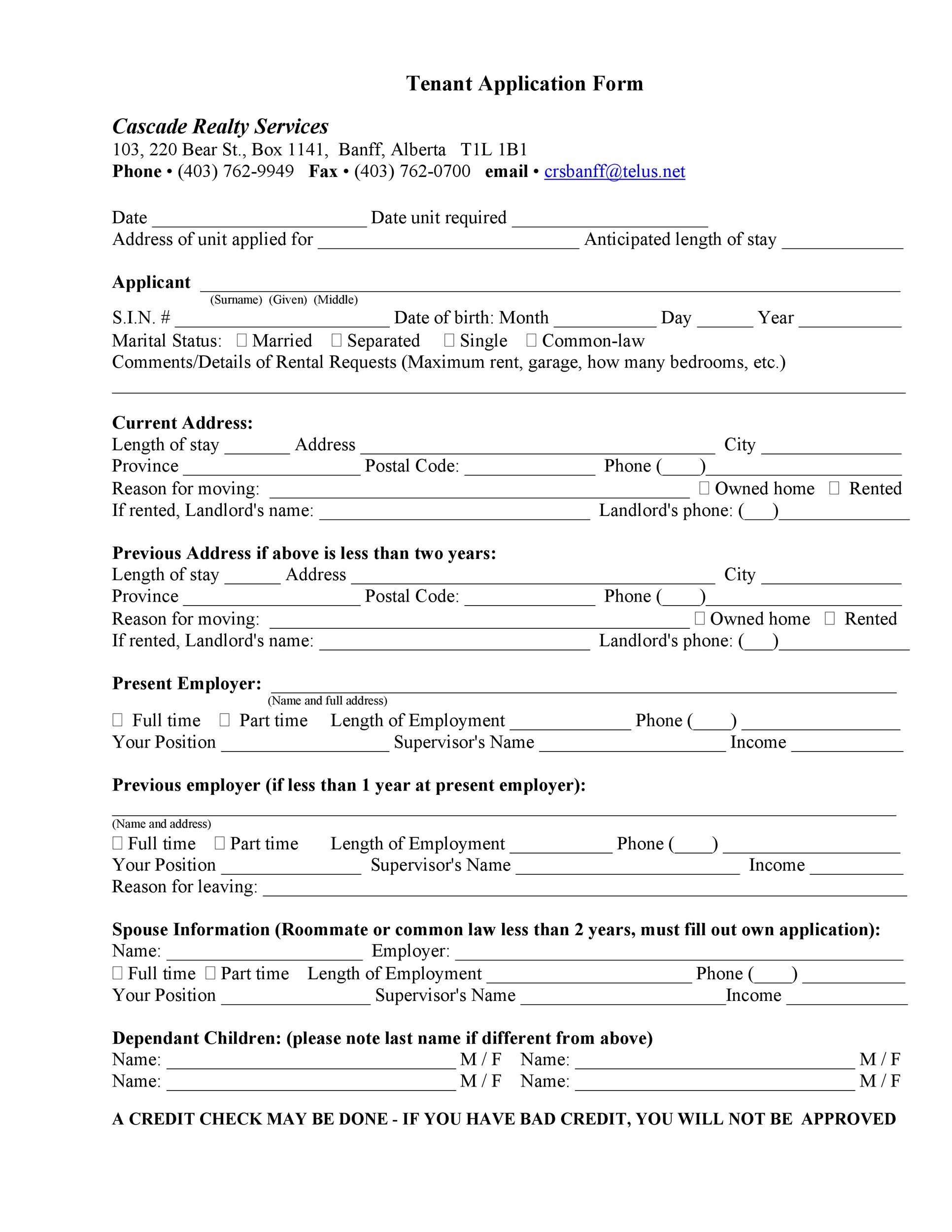 42 Rental Application Forms  Lease Agreement Templates - Tenant Information Form