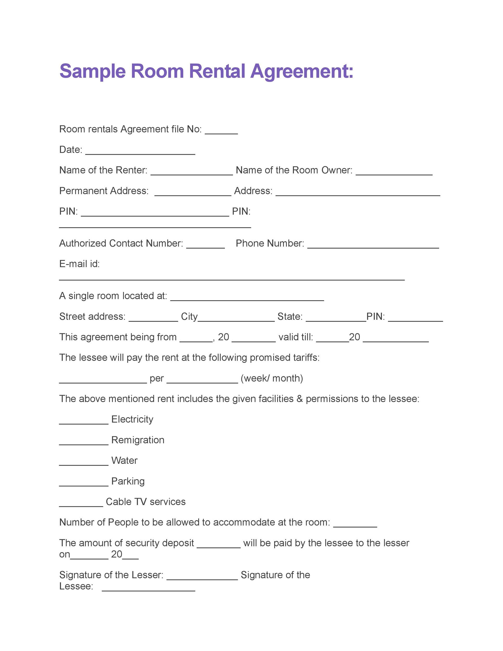 Sample Room For Rent Contract Printable Sample Rental Agreement