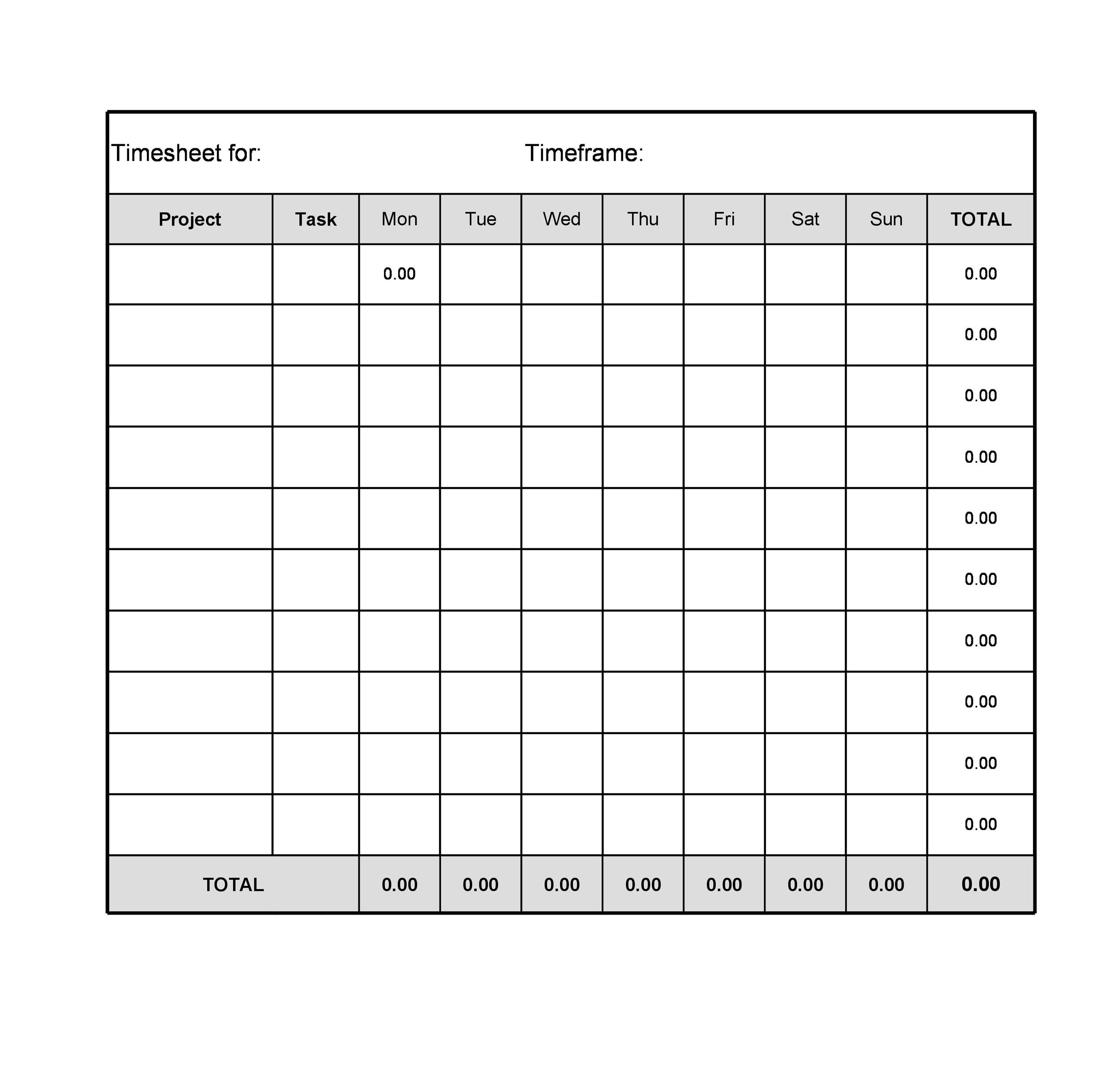 40 Free Timesheet / Time Card Templates - Template Lab - free timesheet forms