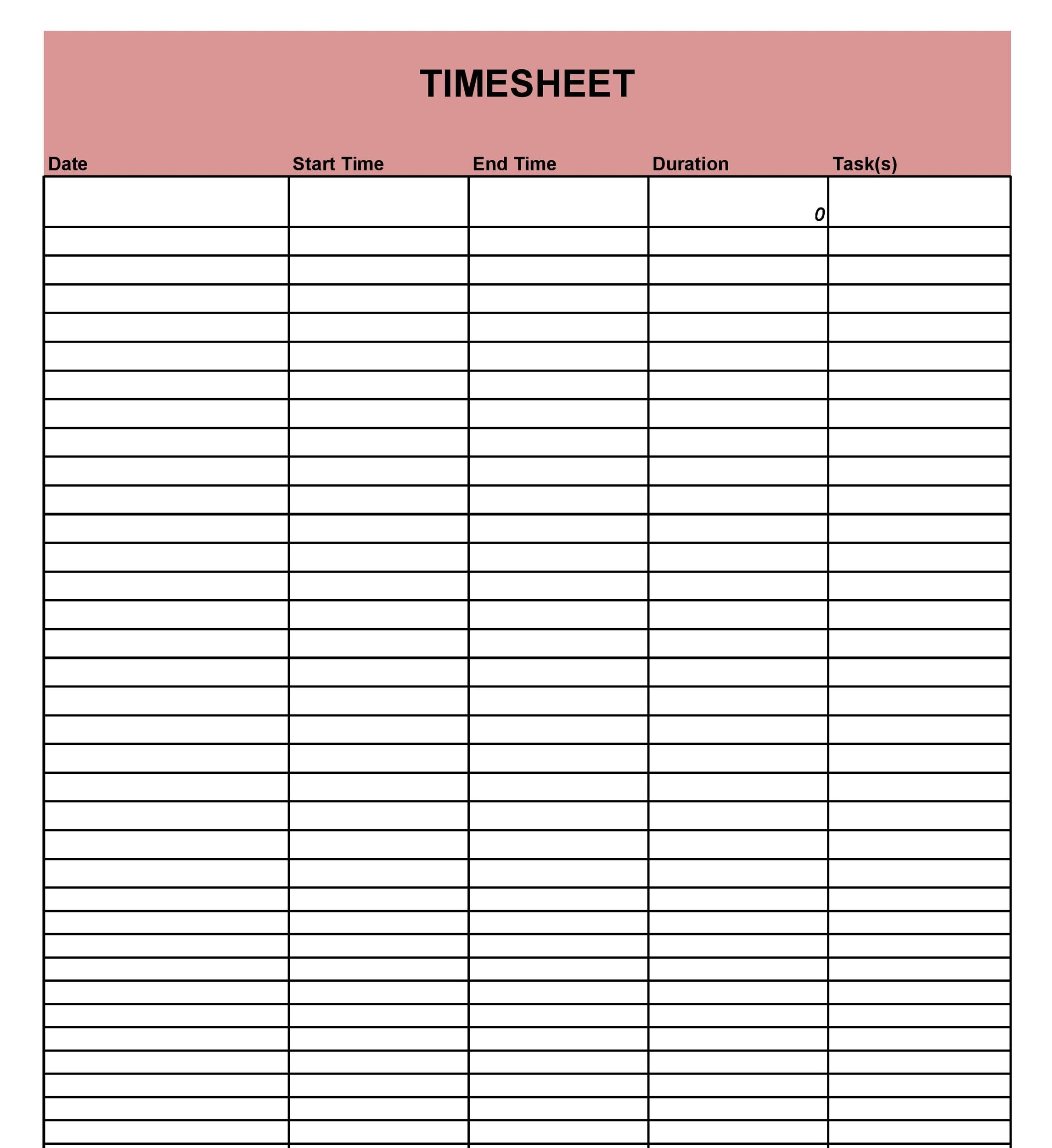40 Free Timesheet / Time Card Templates ᐅ Template Lab