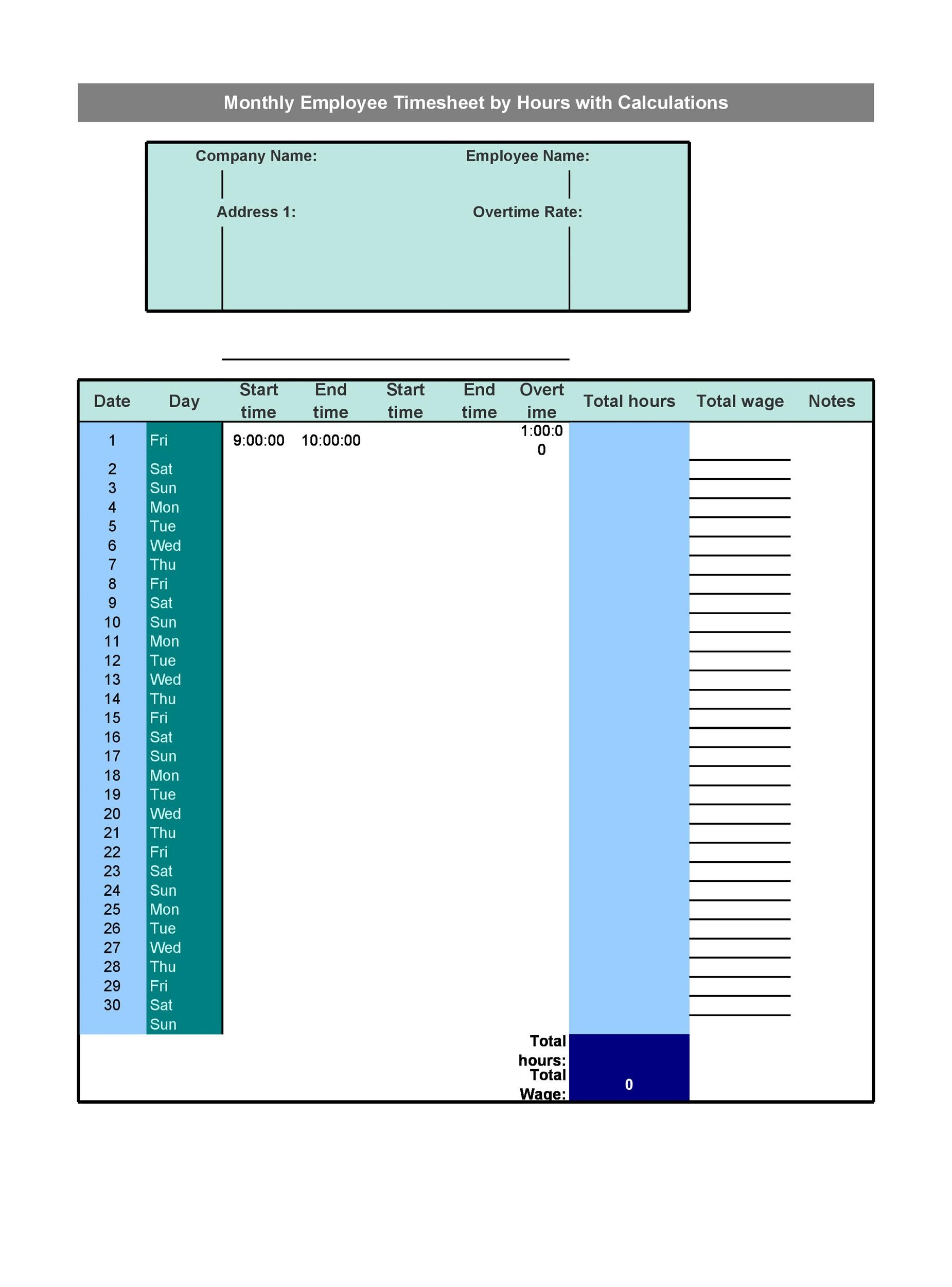 40 Free Timesheet / Time Card Templates - Template Lab