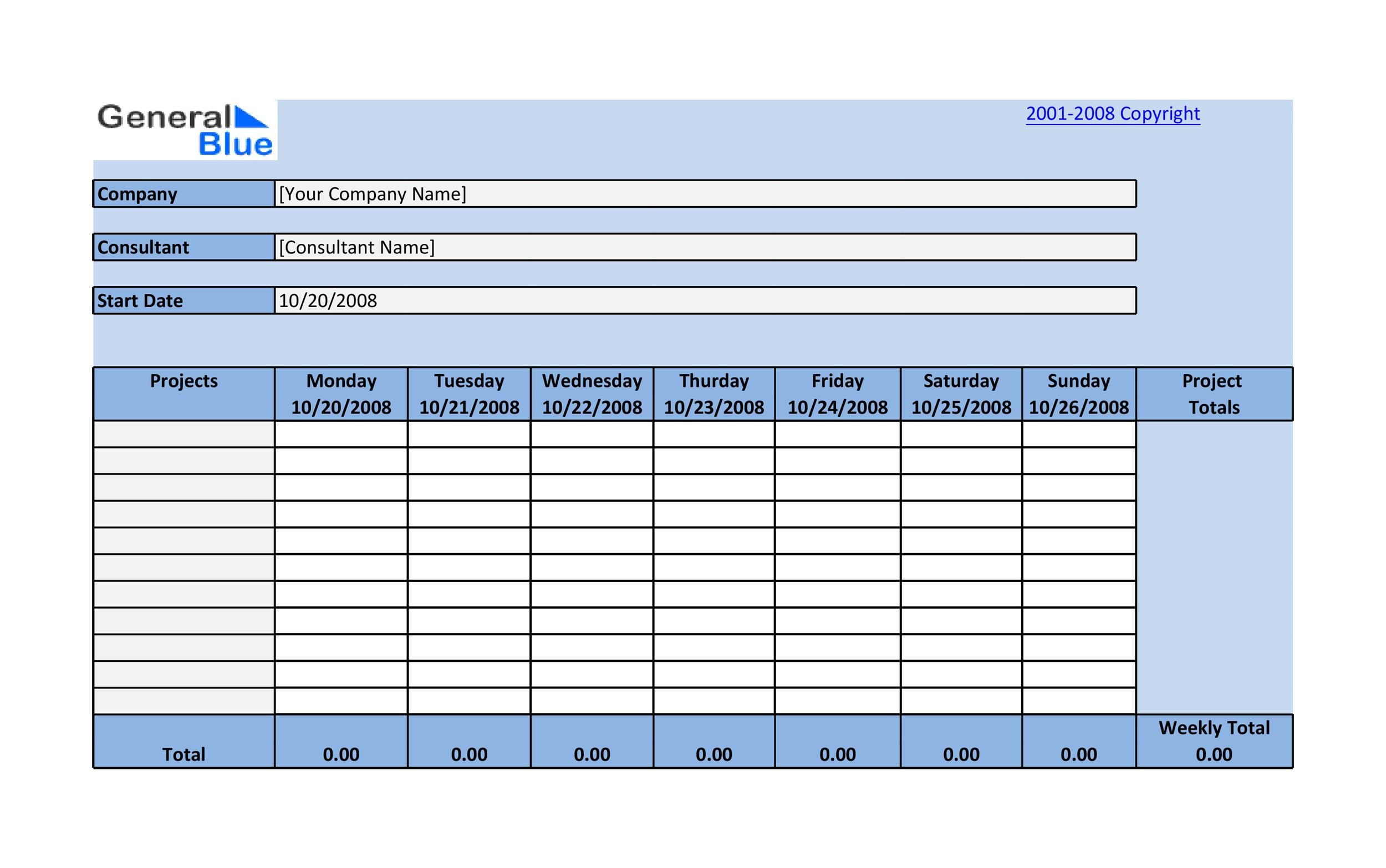 daily project timesheet template - Minimfagency