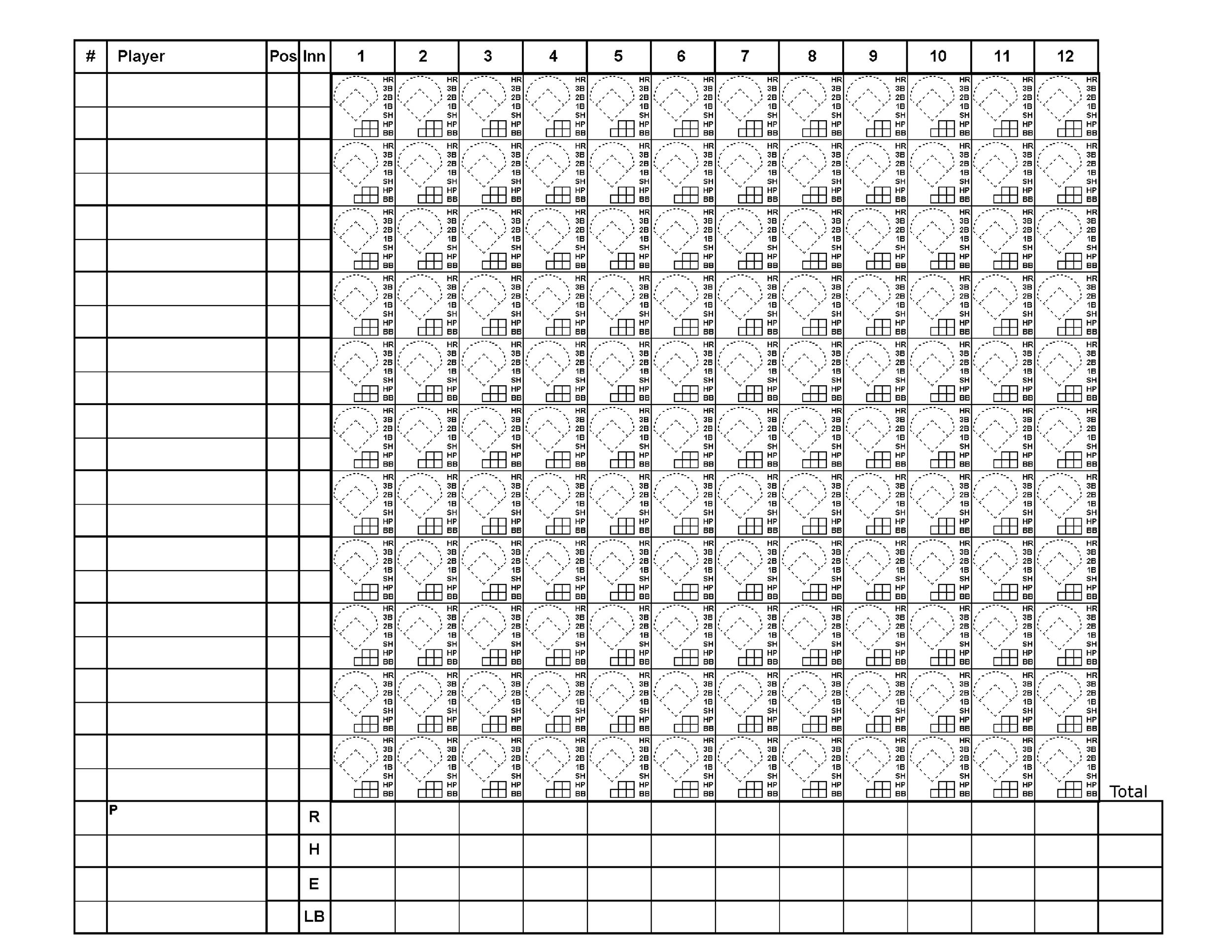 30+ Printable Baseball Scoresheet / Scorecard Templates - Template Lab - Baseball Score Sheet With Pitch Count