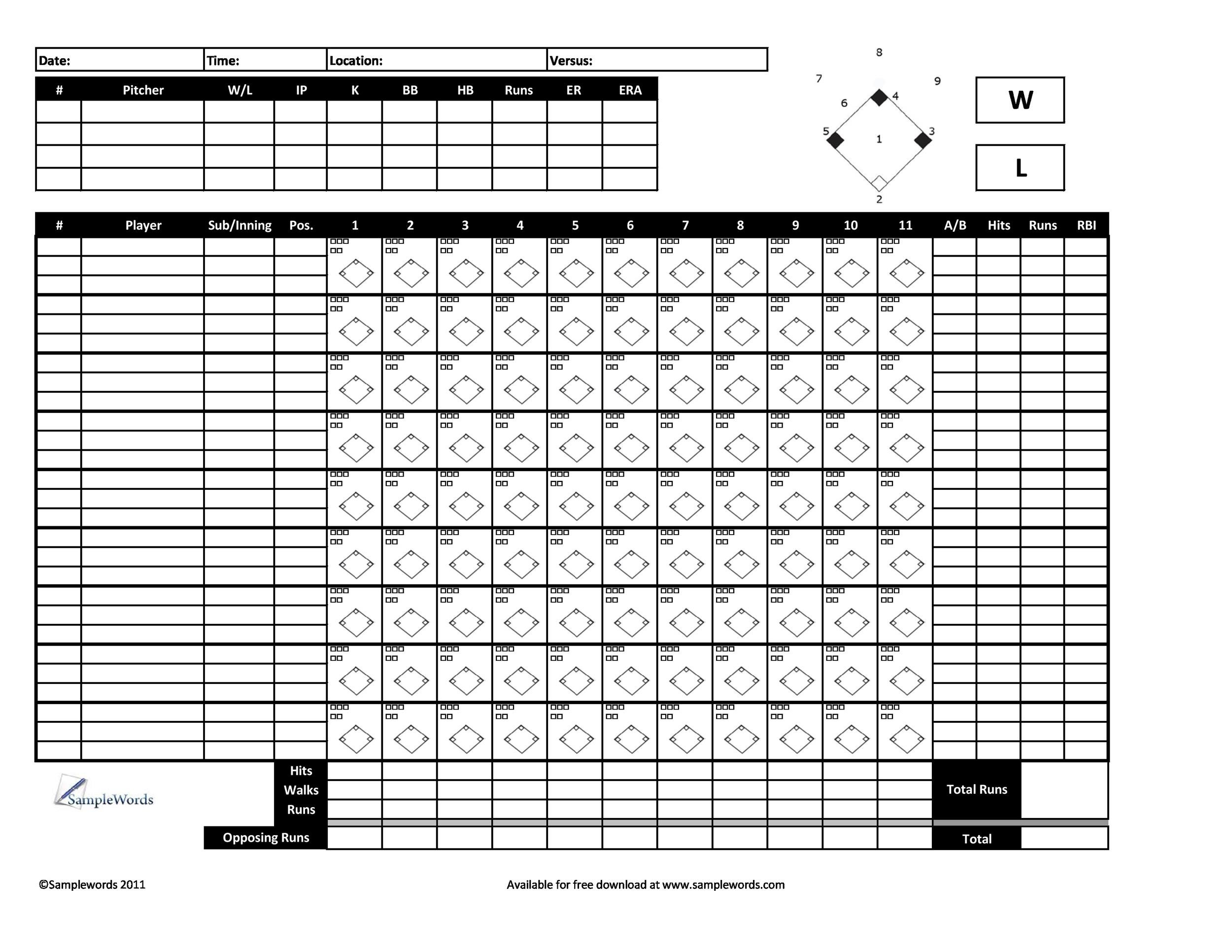 30+ Printable Baseball Scoresheet / Scorecard Templates - Template Lab - softball score sheet template