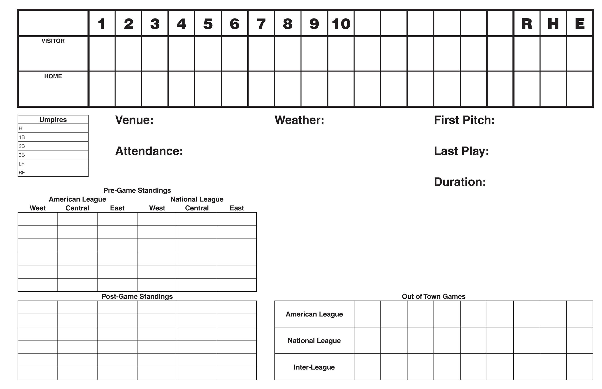 baseball score sheets template - Maggilocustdesign