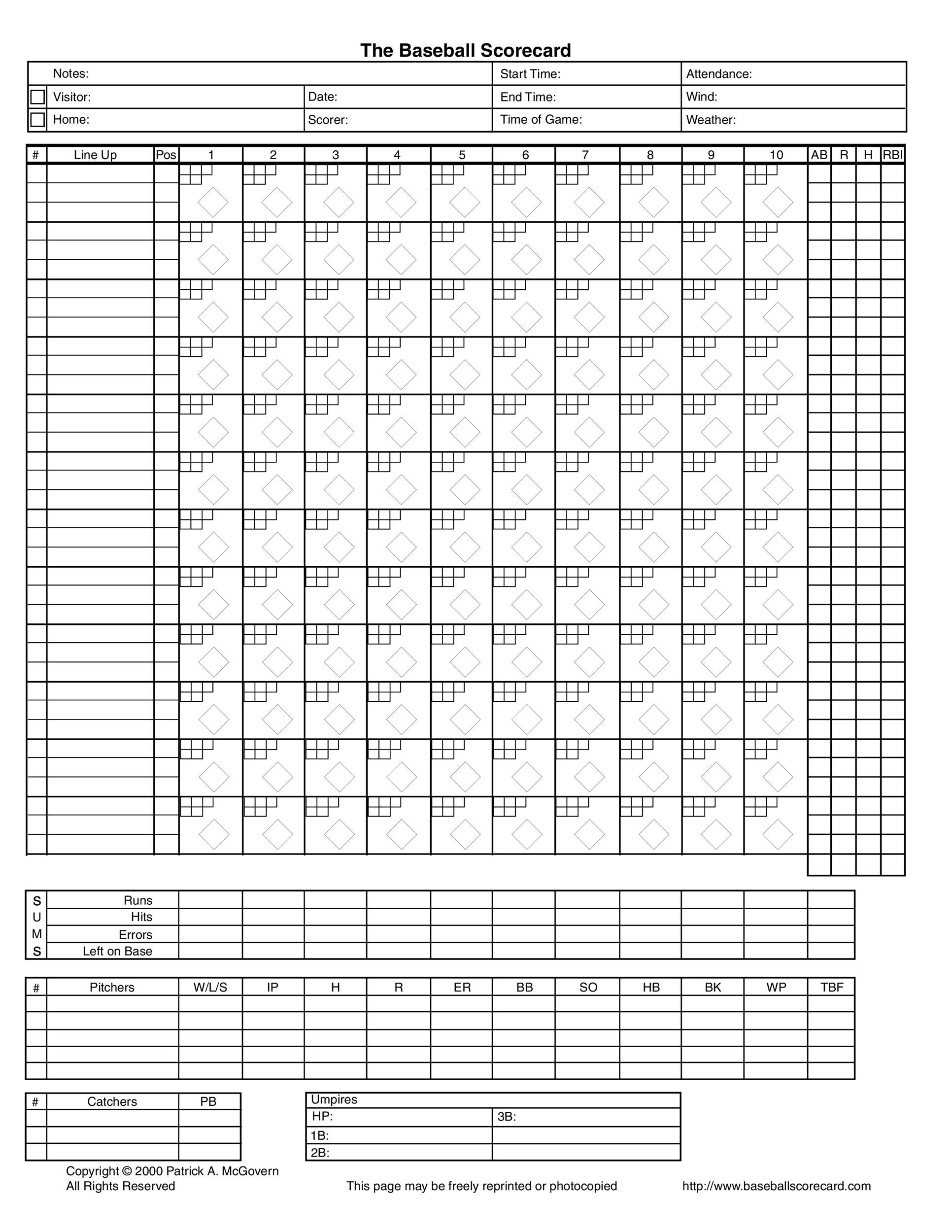 30+ Printable Baseball Scoresheet / Scorecard Templates - Template Lab