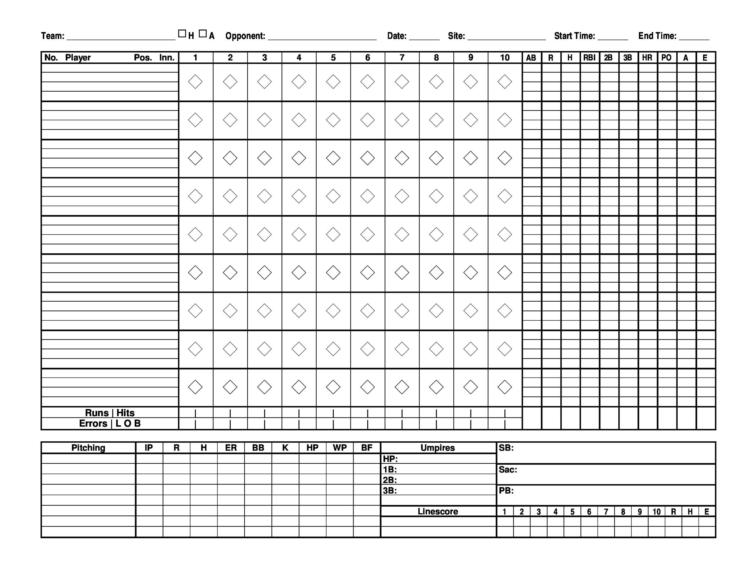 baseball scoresheet - Baseball Score Sheet With Pitch Count