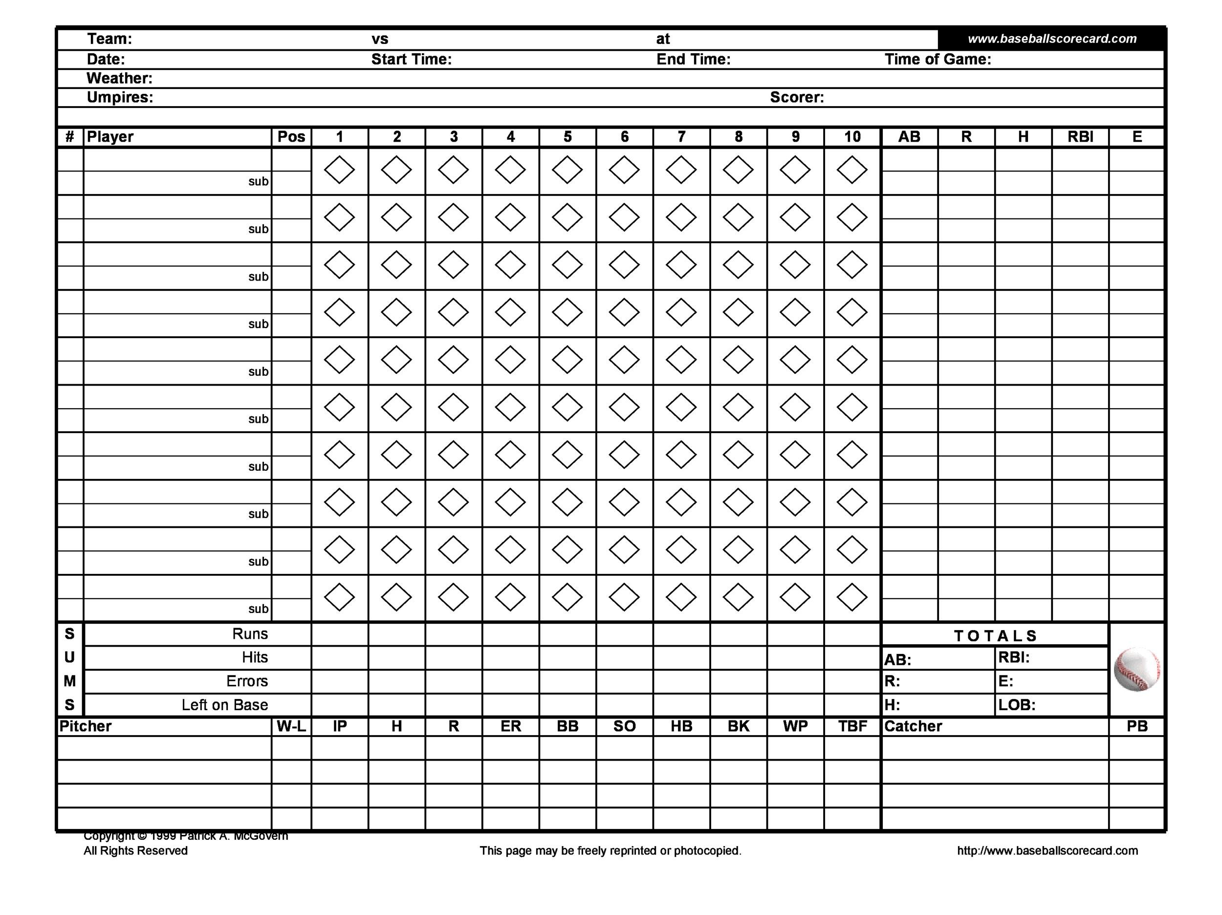 baseball scoresheet - baseball score sheet