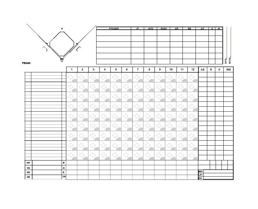 baseball score sheets template