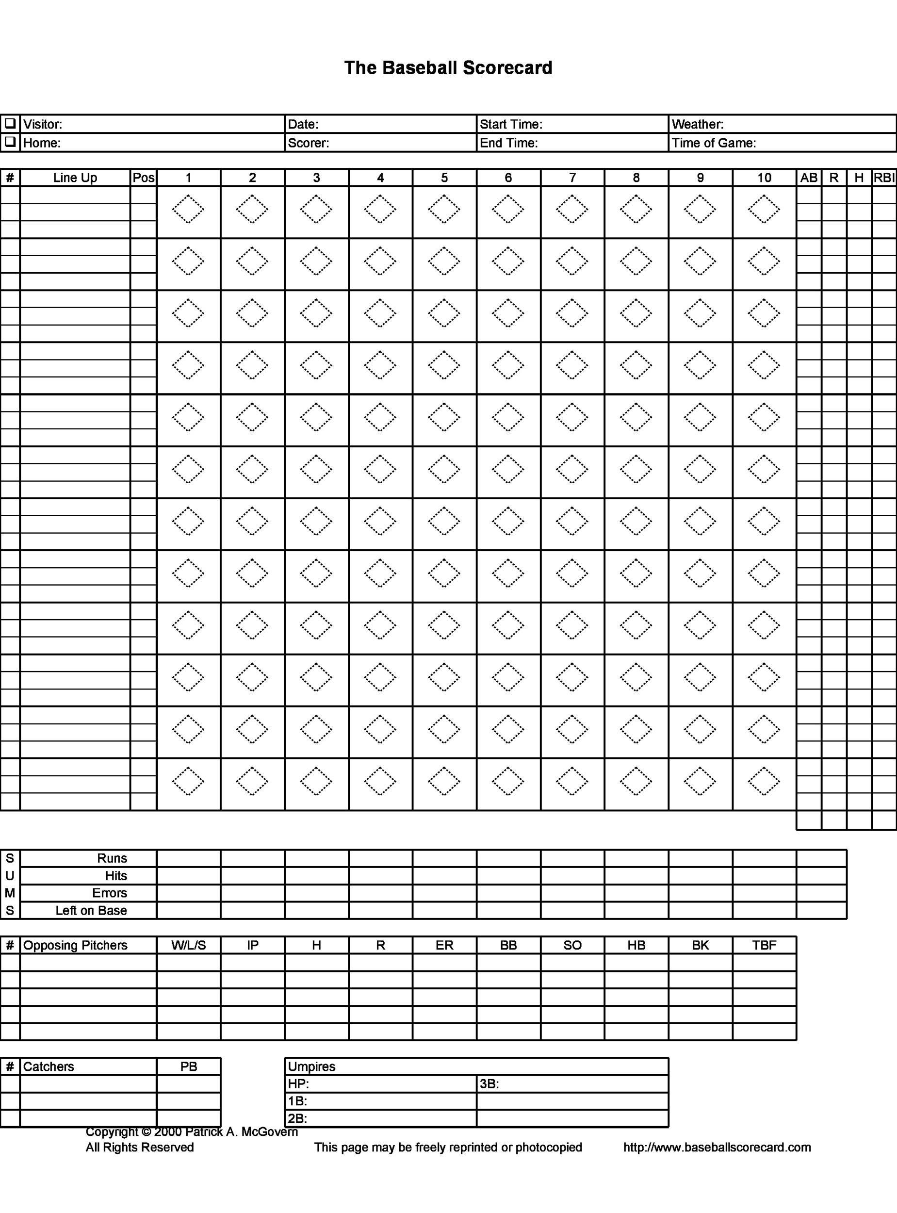 30+ Printable Baseball Scoresheet / Scorecard Templates - Template Lab - baseball score sheet with pitch count