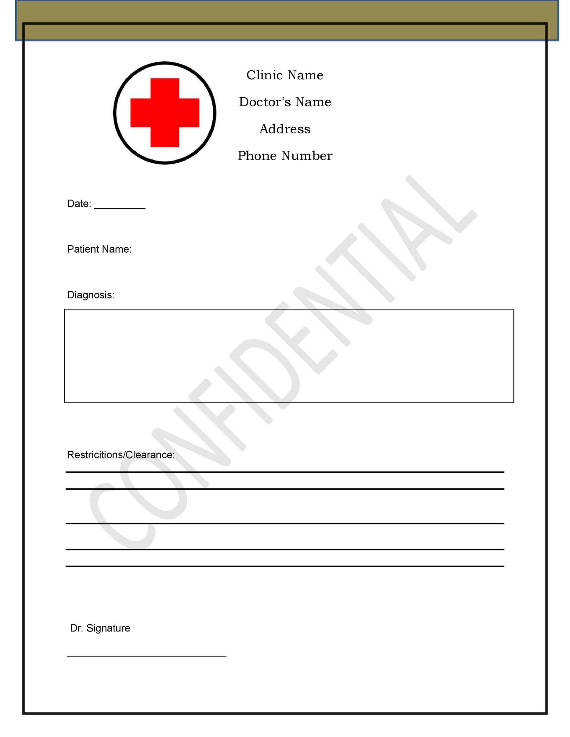 Clinic Note Image Of Form Authorization For Mayo Clinic To - doctors note template