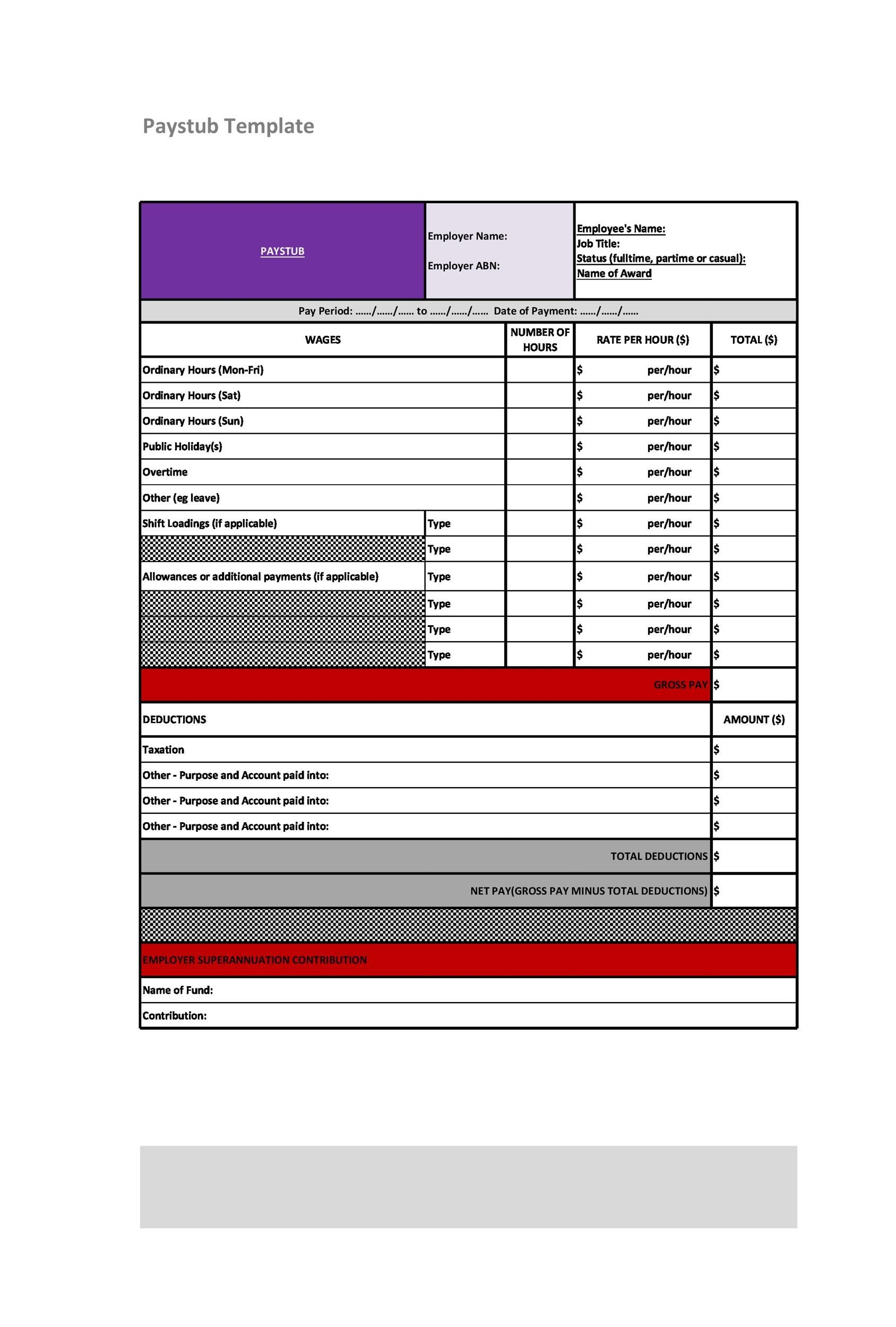 Paystub Template 7 pay stub template pdf authorizationletters org