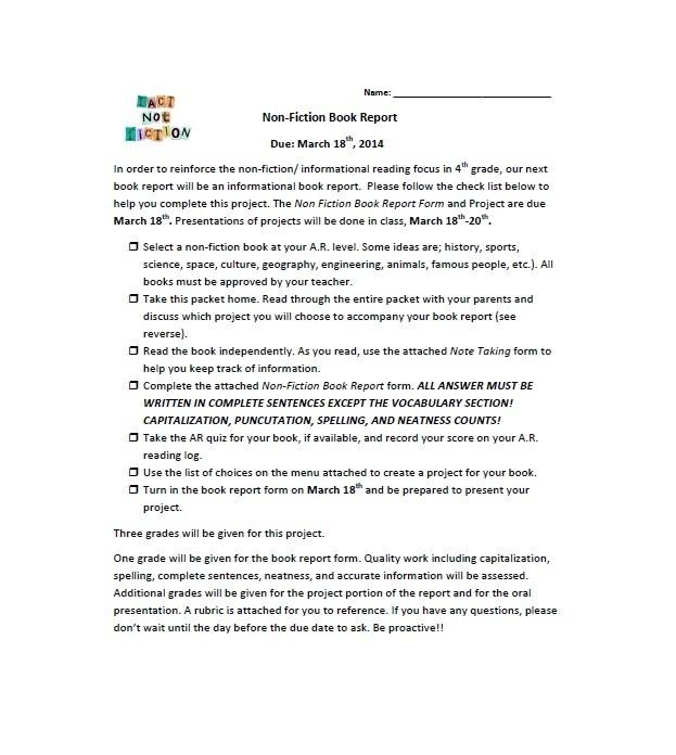 30 Book Report Templates  Reading Worksheets - book report printable