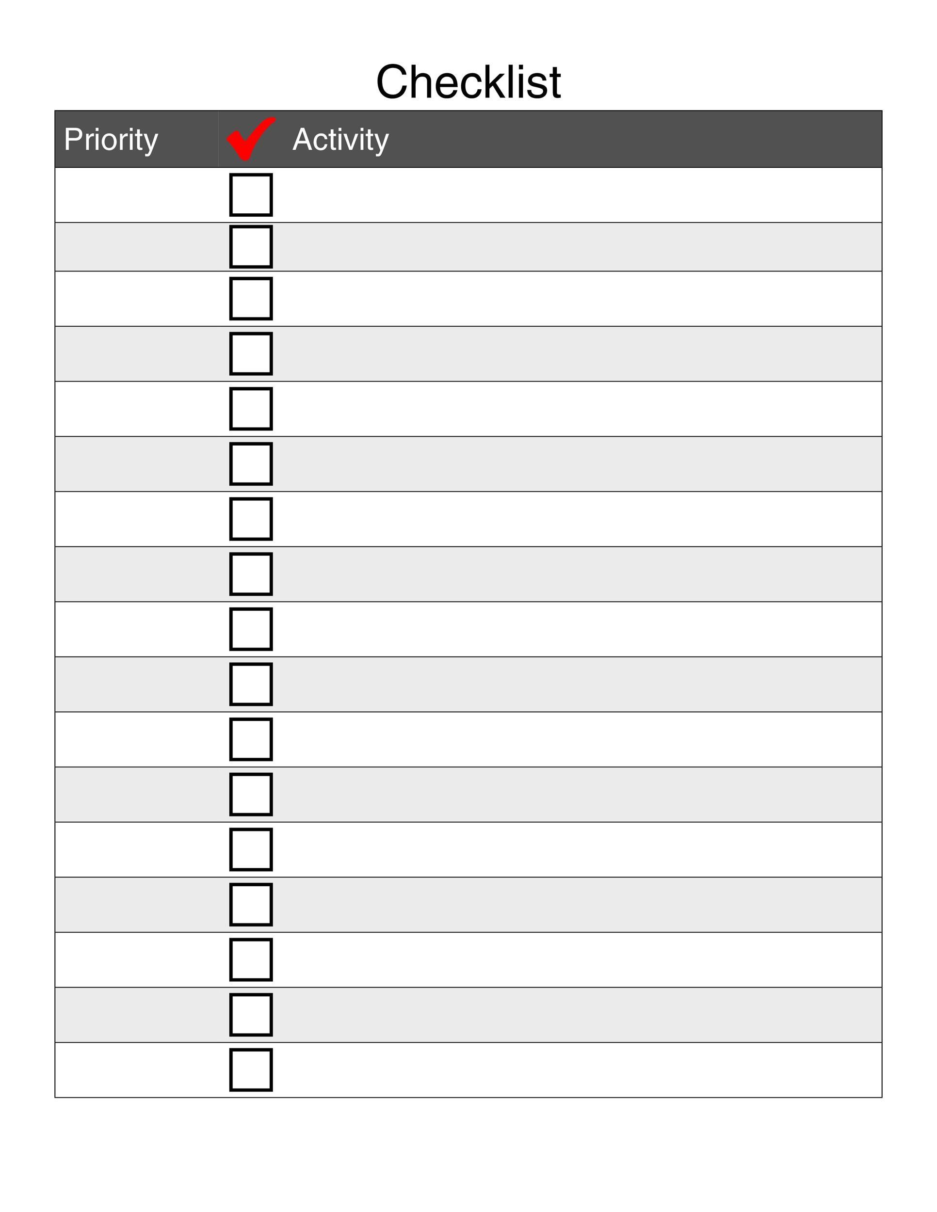 blank checklist templates