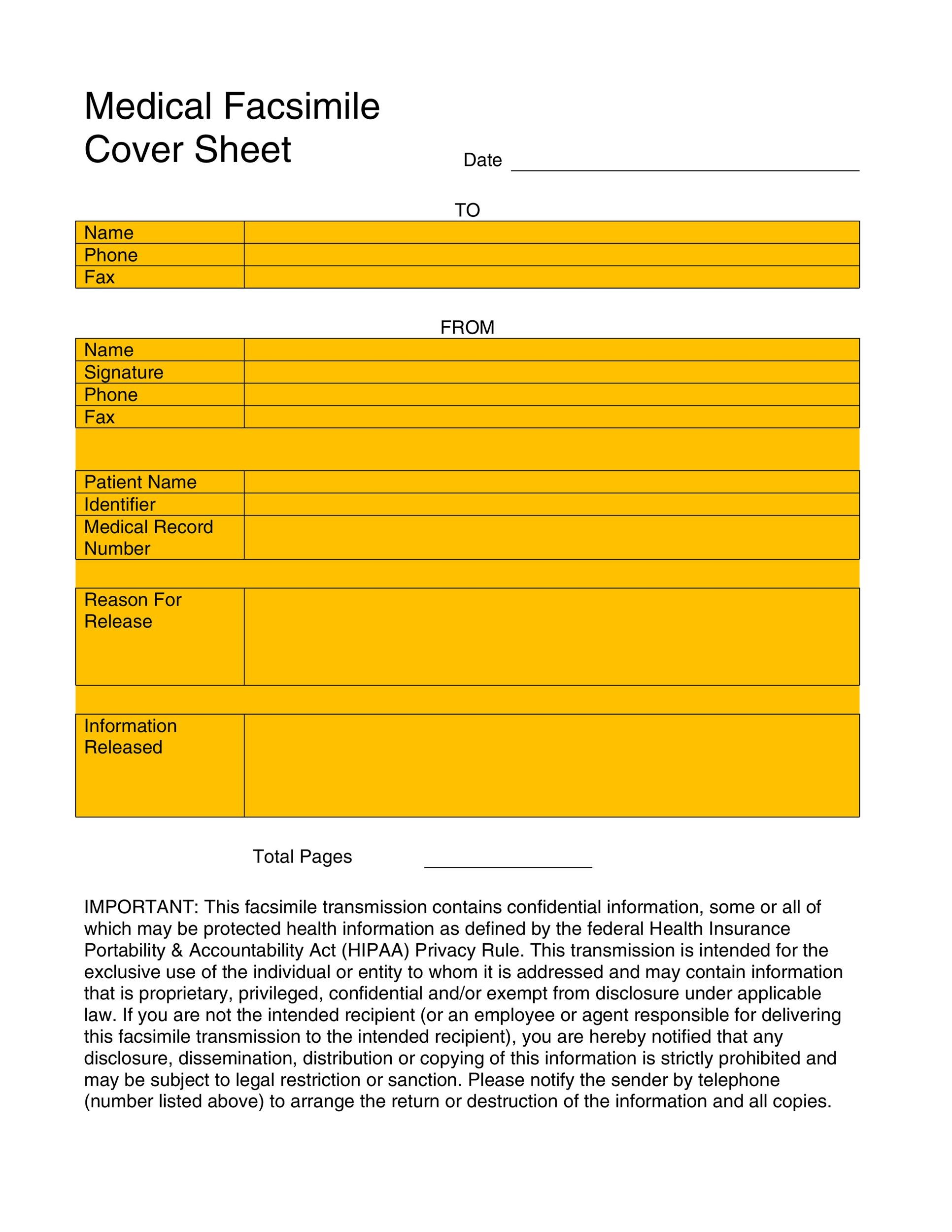 40 Printable Fax Cover Sheet Templates - Template Lab - sample medical fax cover sheet