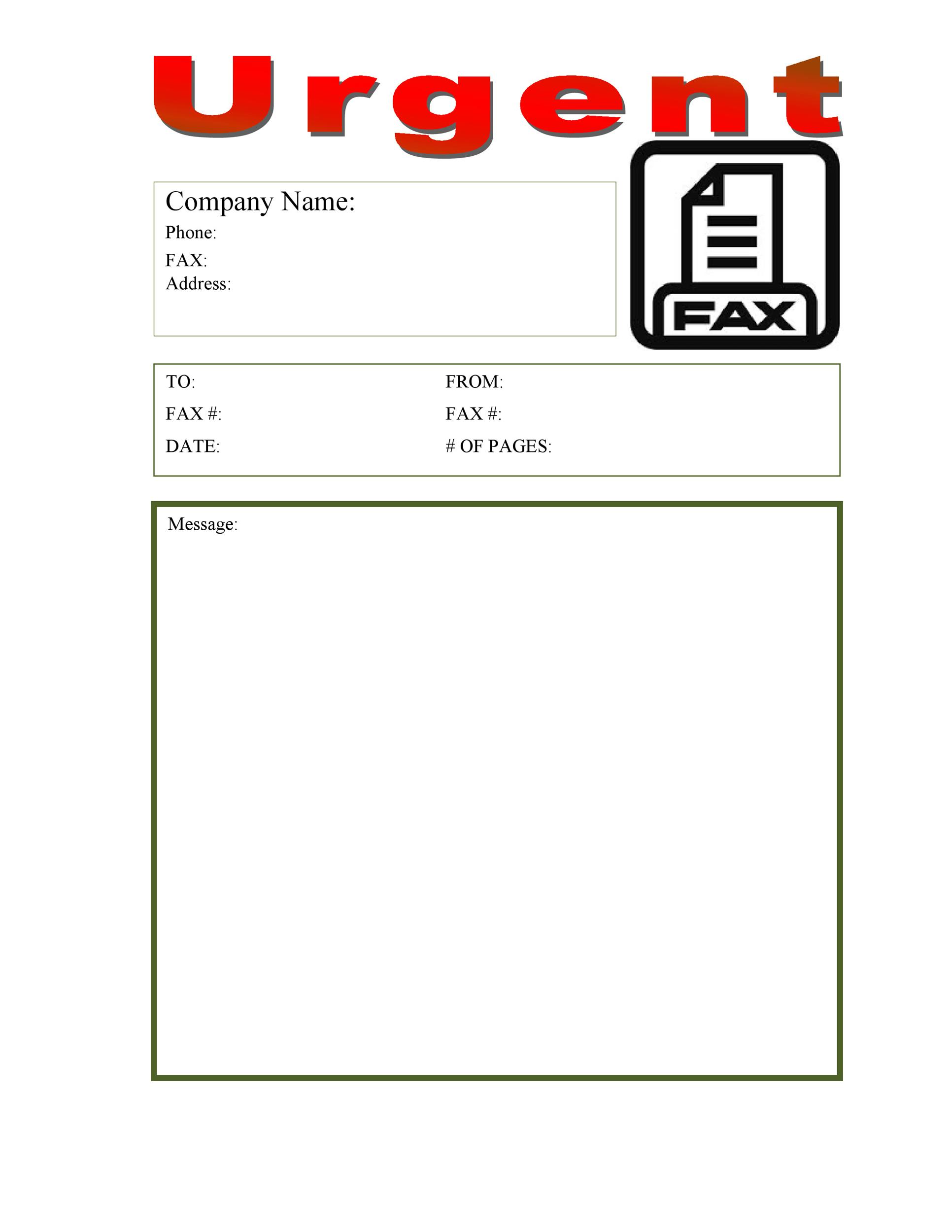 40 Printable Fax Cover Sheet Templates - Template Lab - sample urgent fax cover sheet