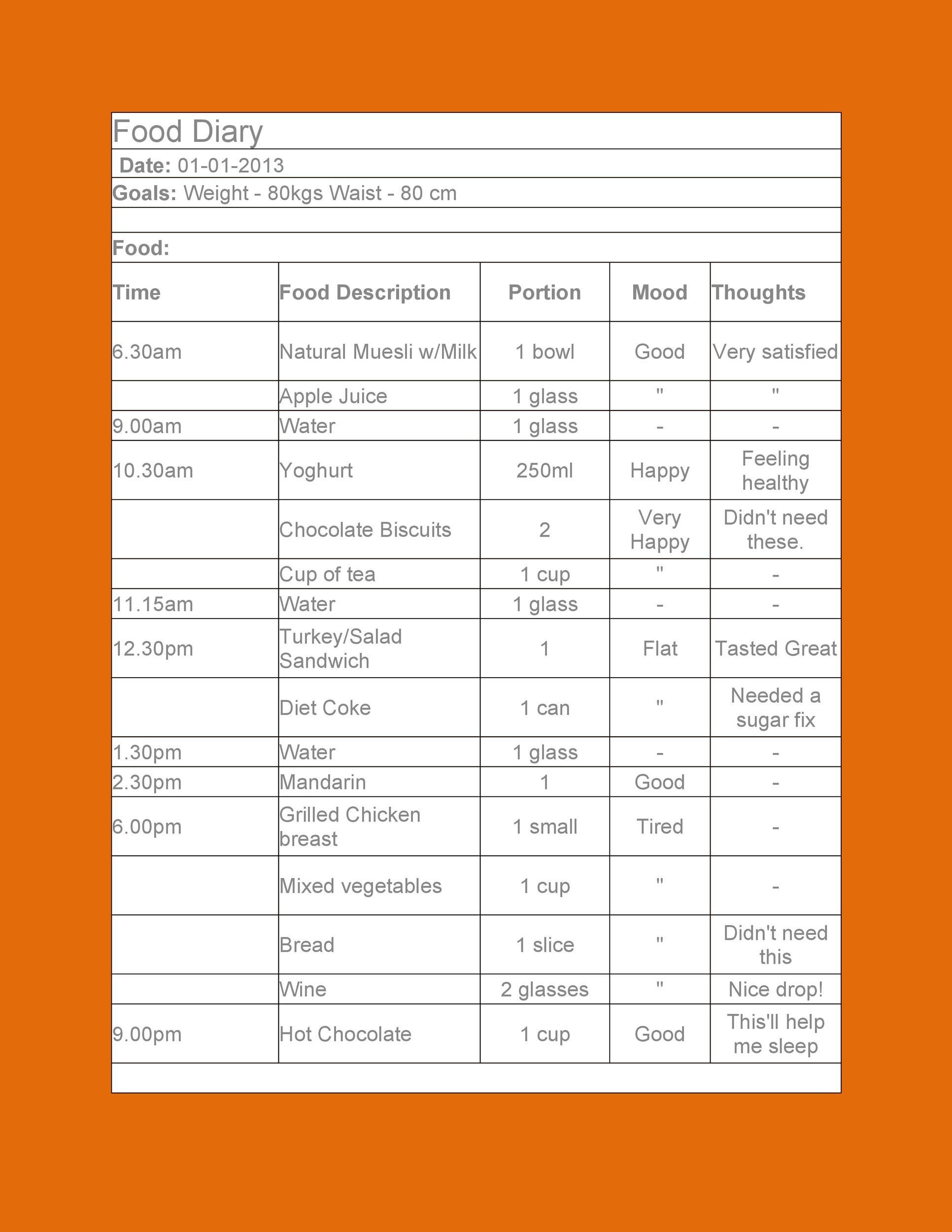 40 Simple Food Diary Templates  Food Log Examples - food journal sample