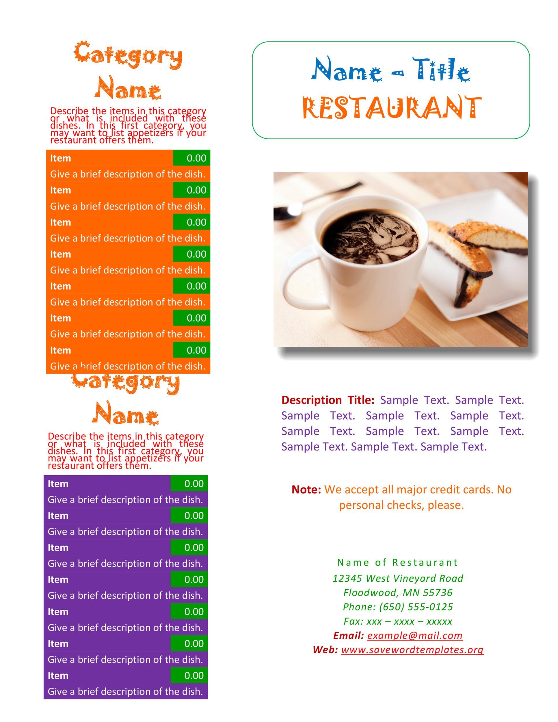 30 Restaurant Menu Templates  Designs - Template Lab - sample menu template