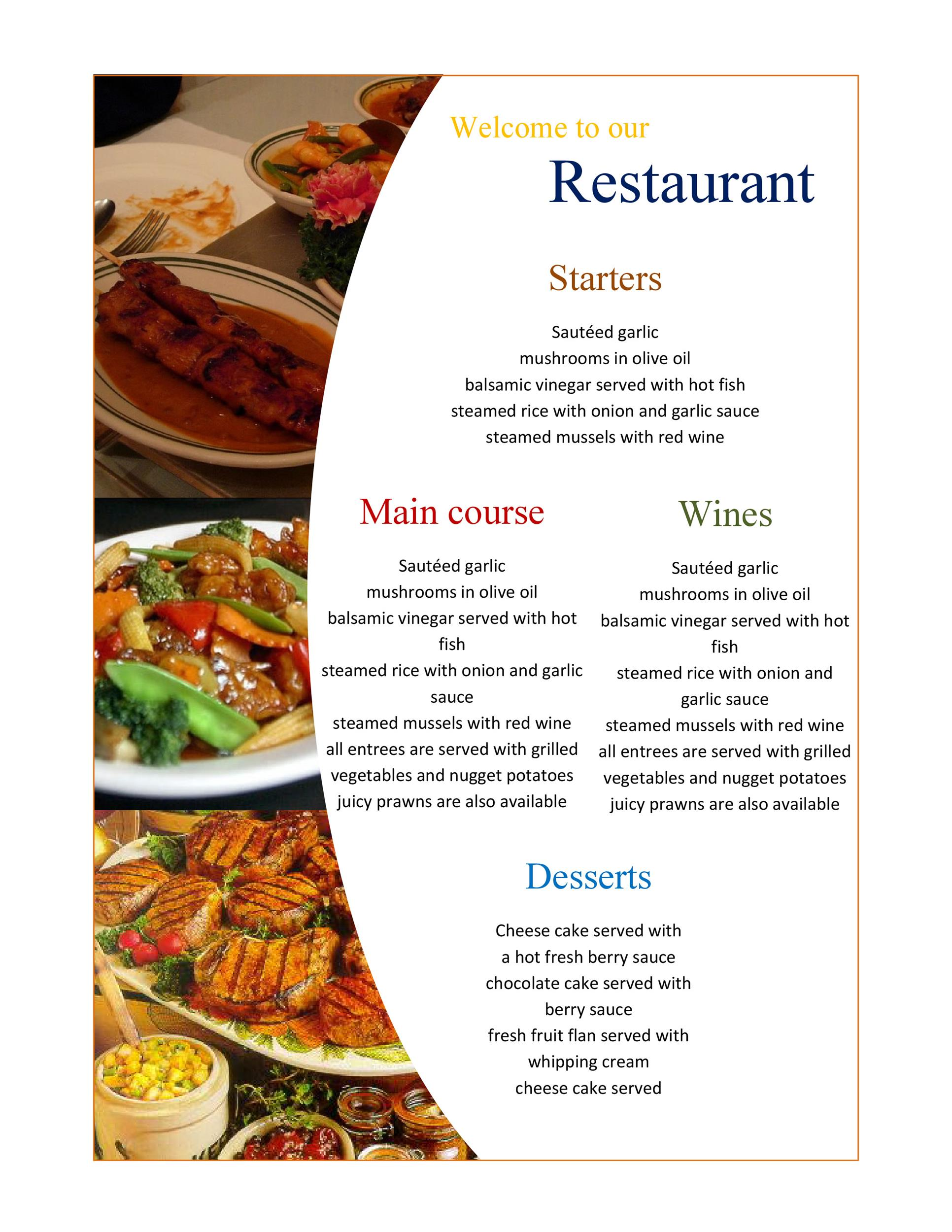 30 Restaurant Menu Templates  Designs - Template Lab