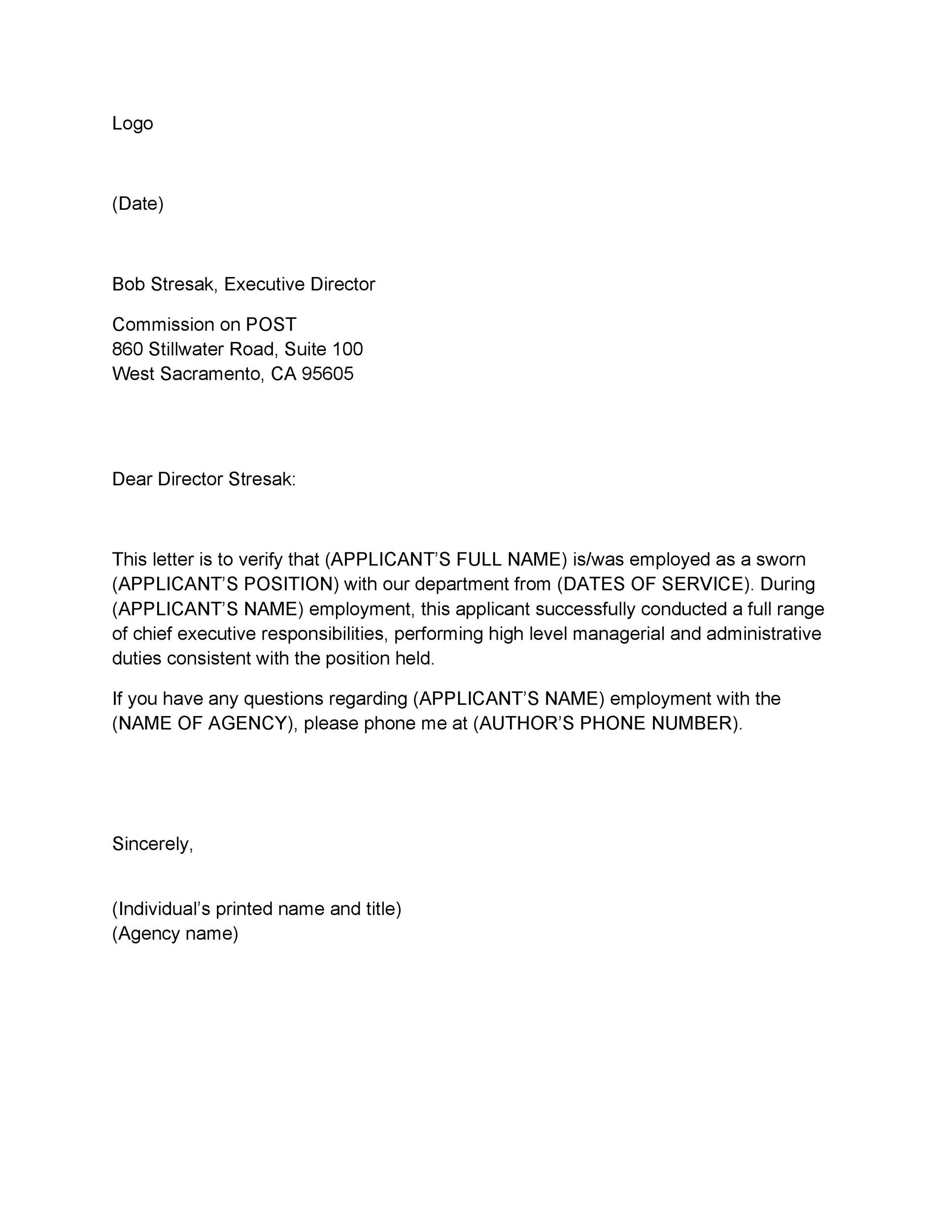 Standard Employment Verification Letter Sample  Cover Letter