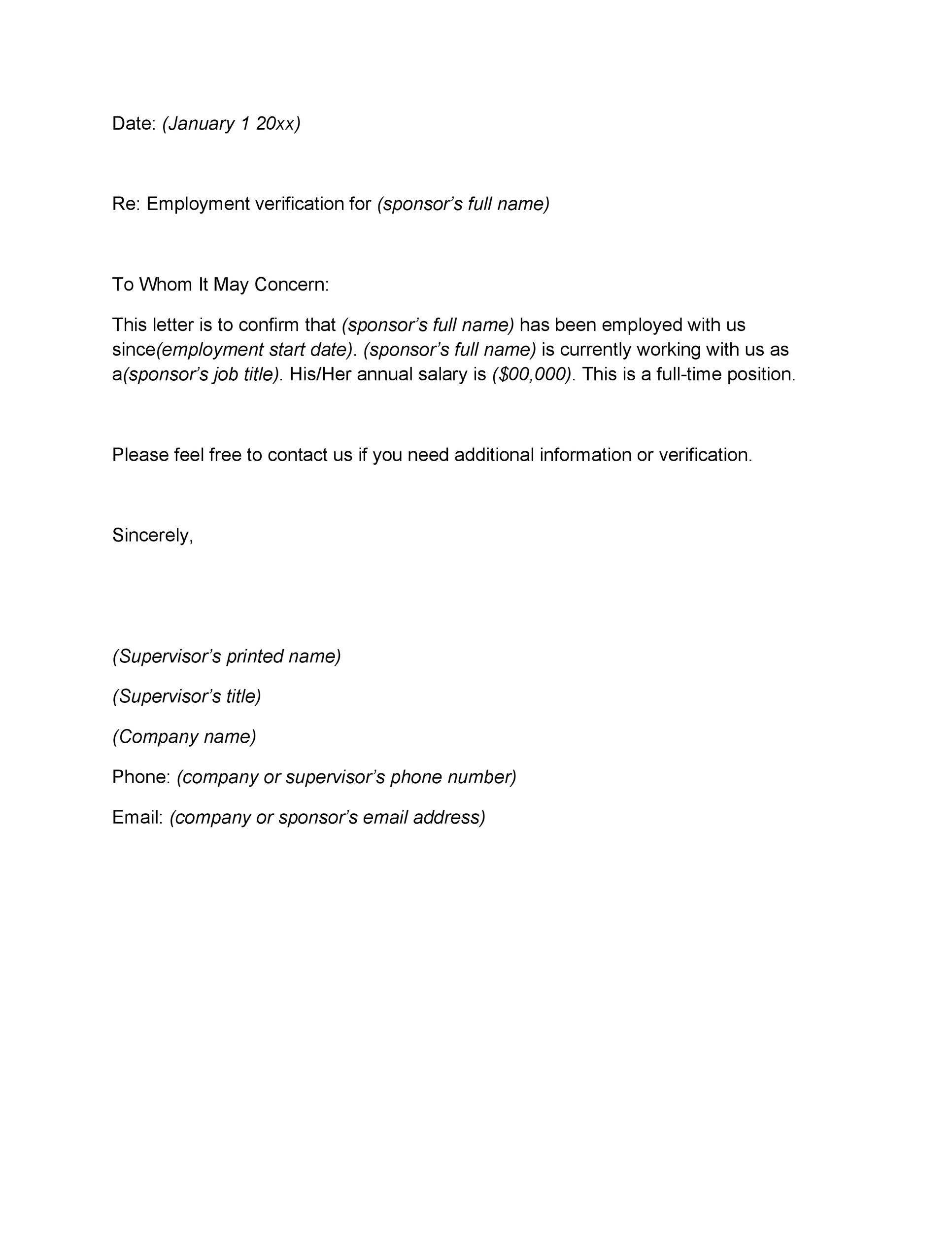 40 Proof of Employment Letters, Verification Forms  Samples - job letter