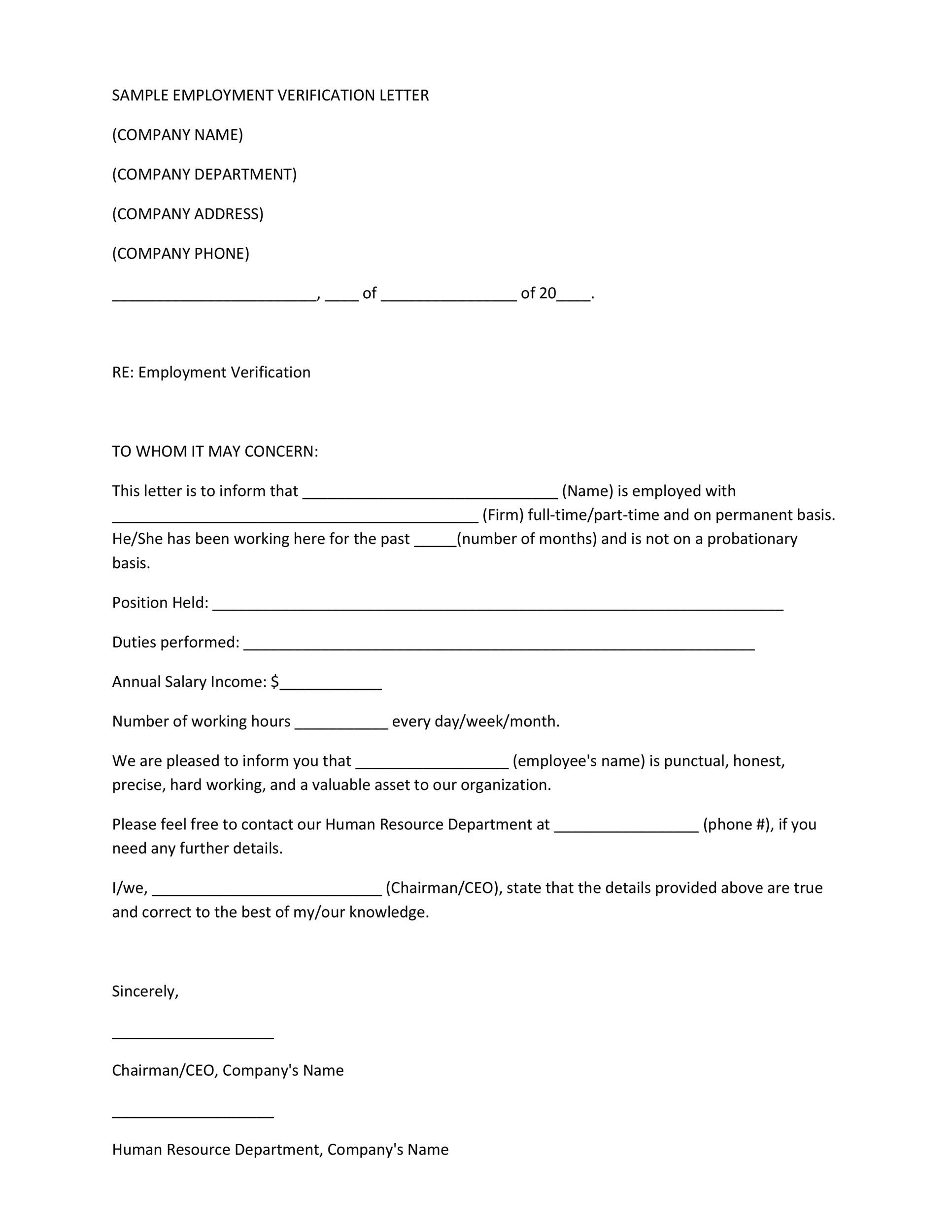 40 Proof of Employment Letters, Verification Forms  Samples - letter to confirm employment