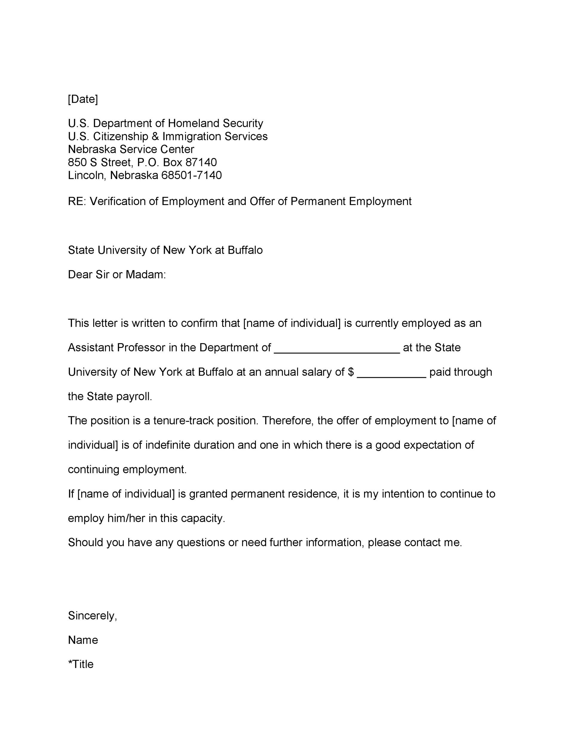40 Proof of Employment Letters, Verification Forms  Samples - letter of employment template