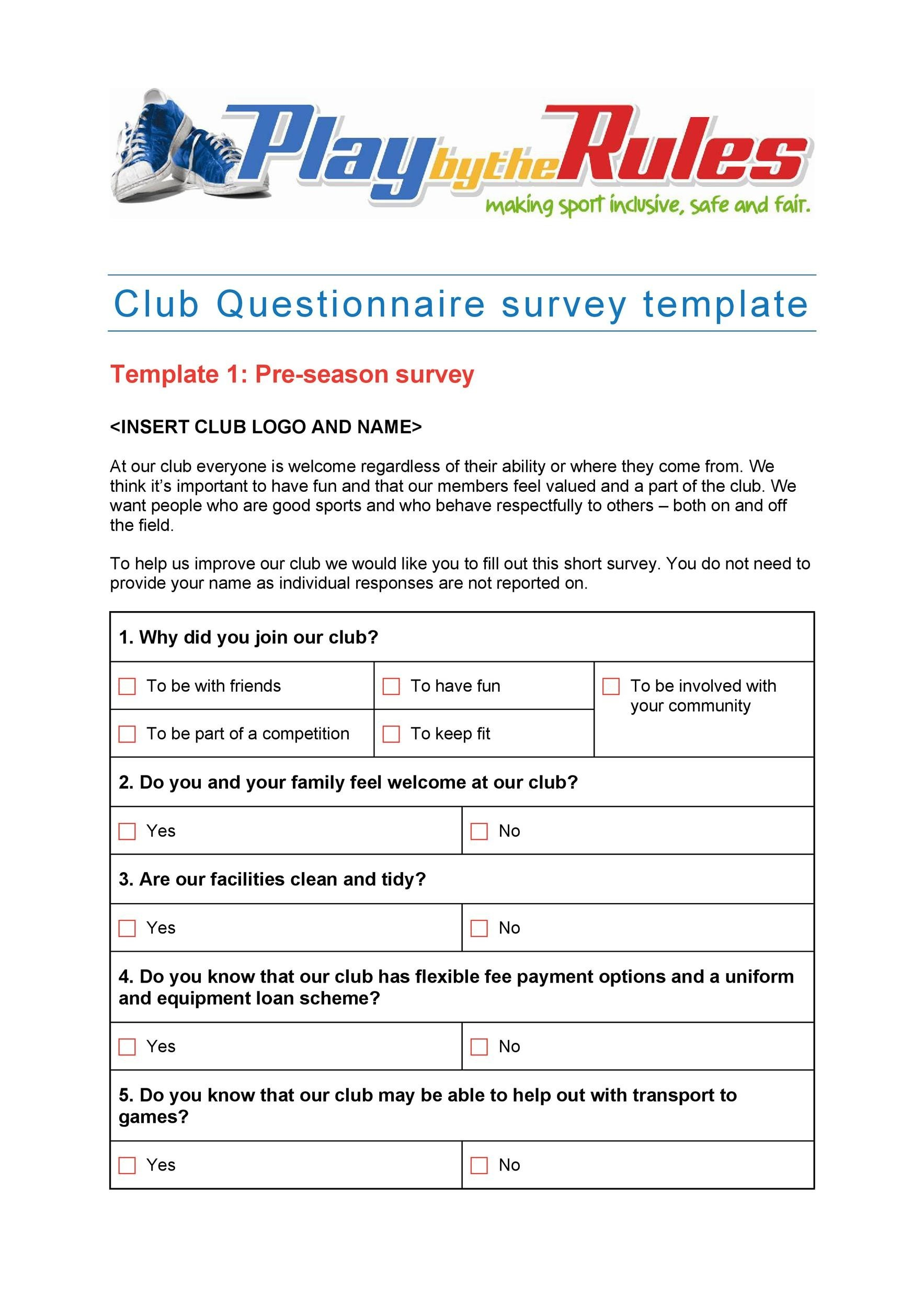 30+ Questionnaire Templates (Word) ᐅ Template Lab