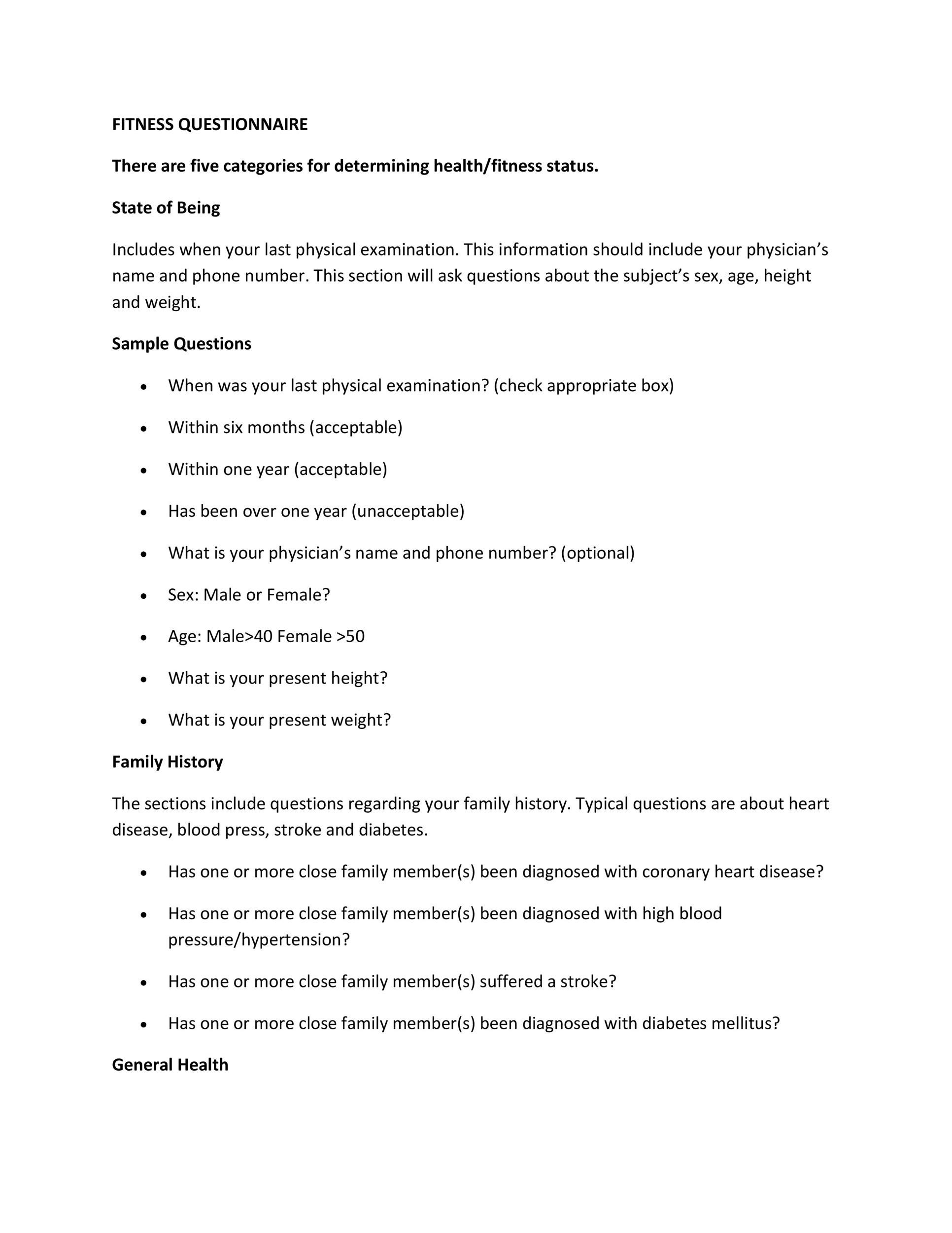 30+ Questionnaire Templates (Word) - Template Lab - physical exam template