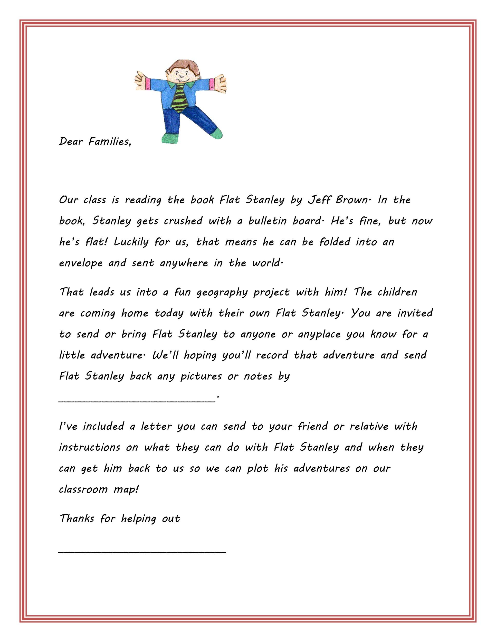 37 Flat Stanley Templates  Letter Examples - Template Lab - response letter template