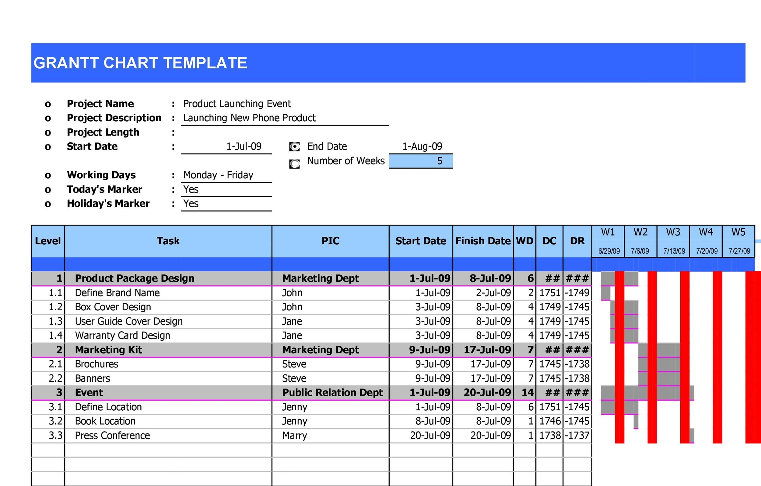 36 Free Gantt Chart Templates (Excel, PowerPoint, Word) - Template Lab - General Color Chart Template