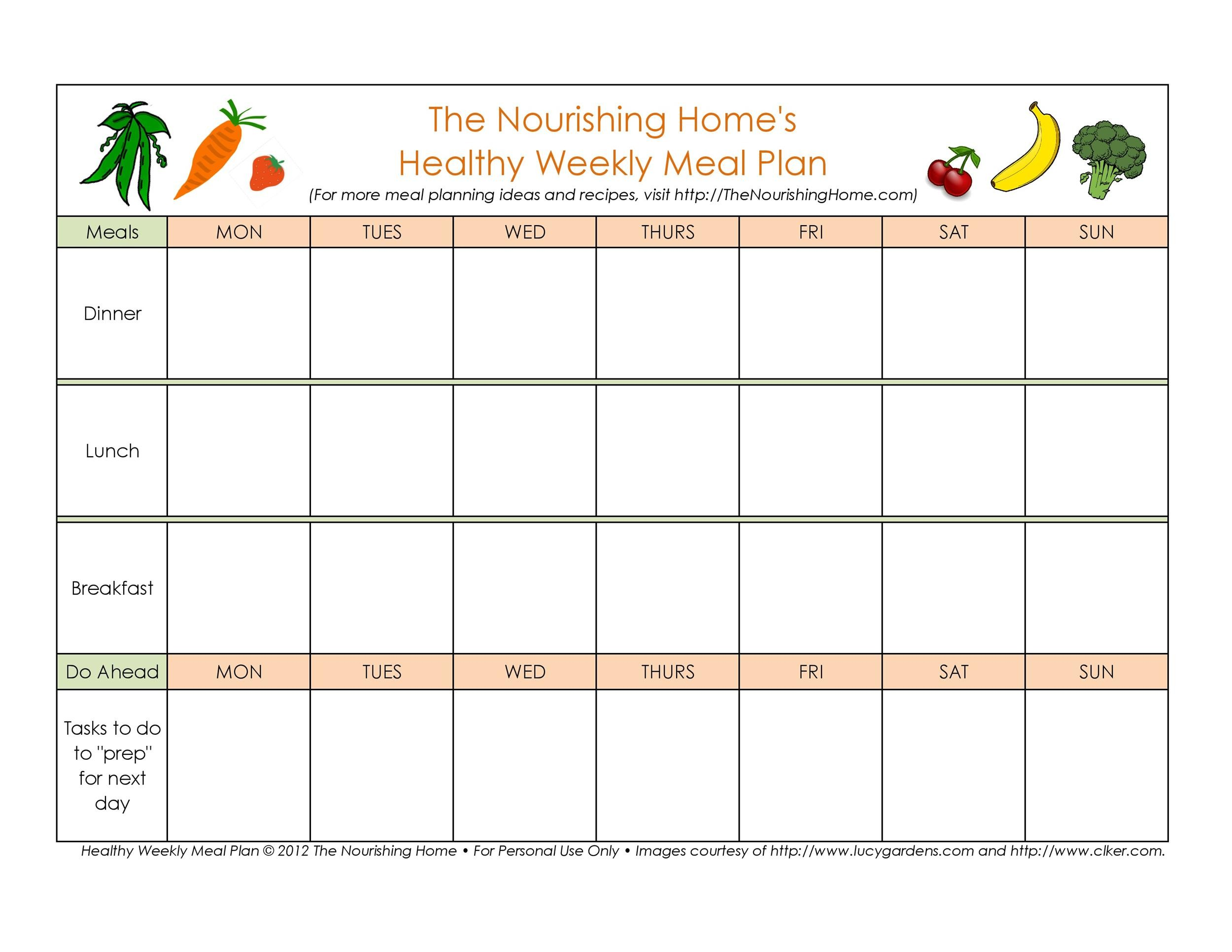 40+ Weekly Meal Planning Templates - Template Lab - daily menu planner template