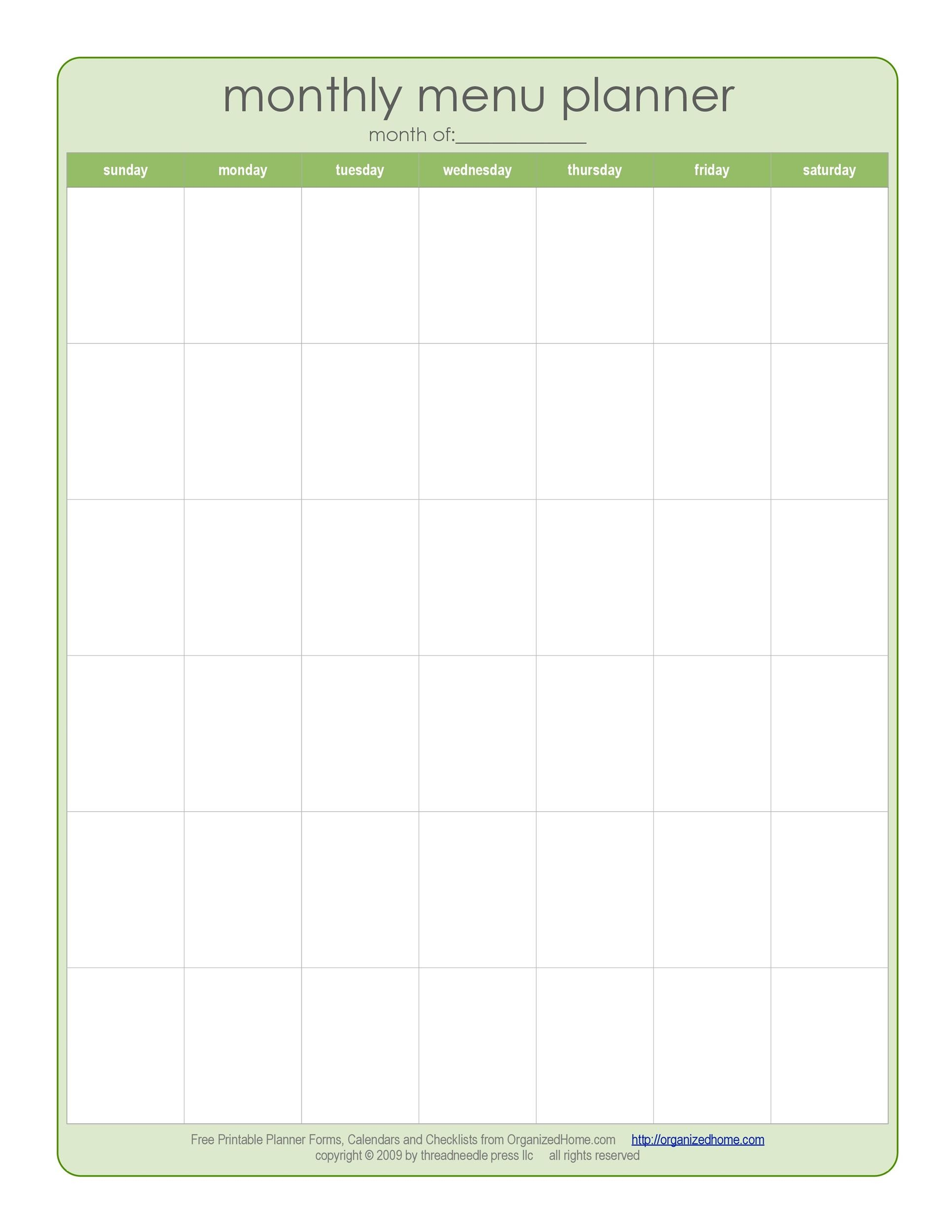 40+ Weekly Meal Planning Templates - Template Lab - online menu planner free