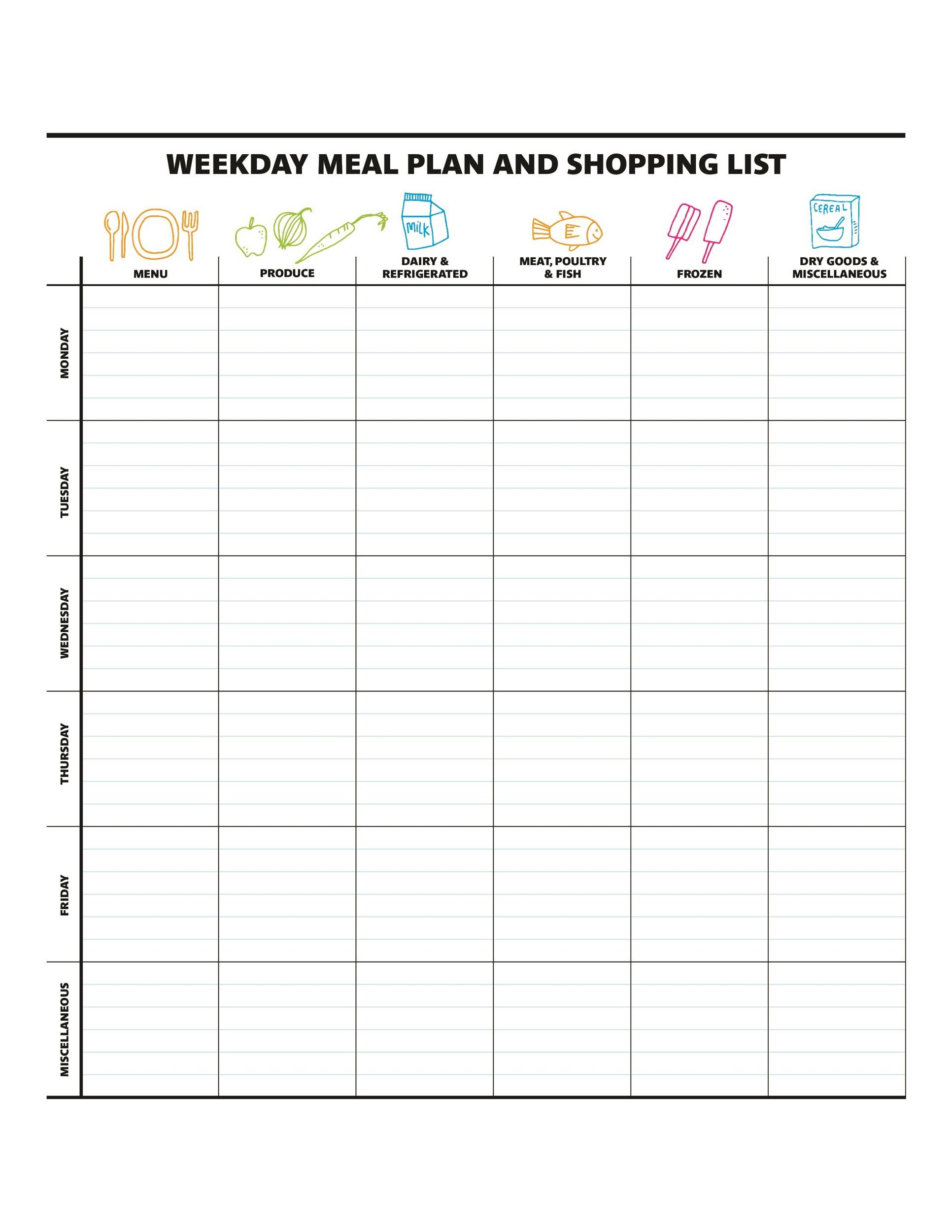 40+ Weekly Meal Planning Templates - Template Lab - meal planning template