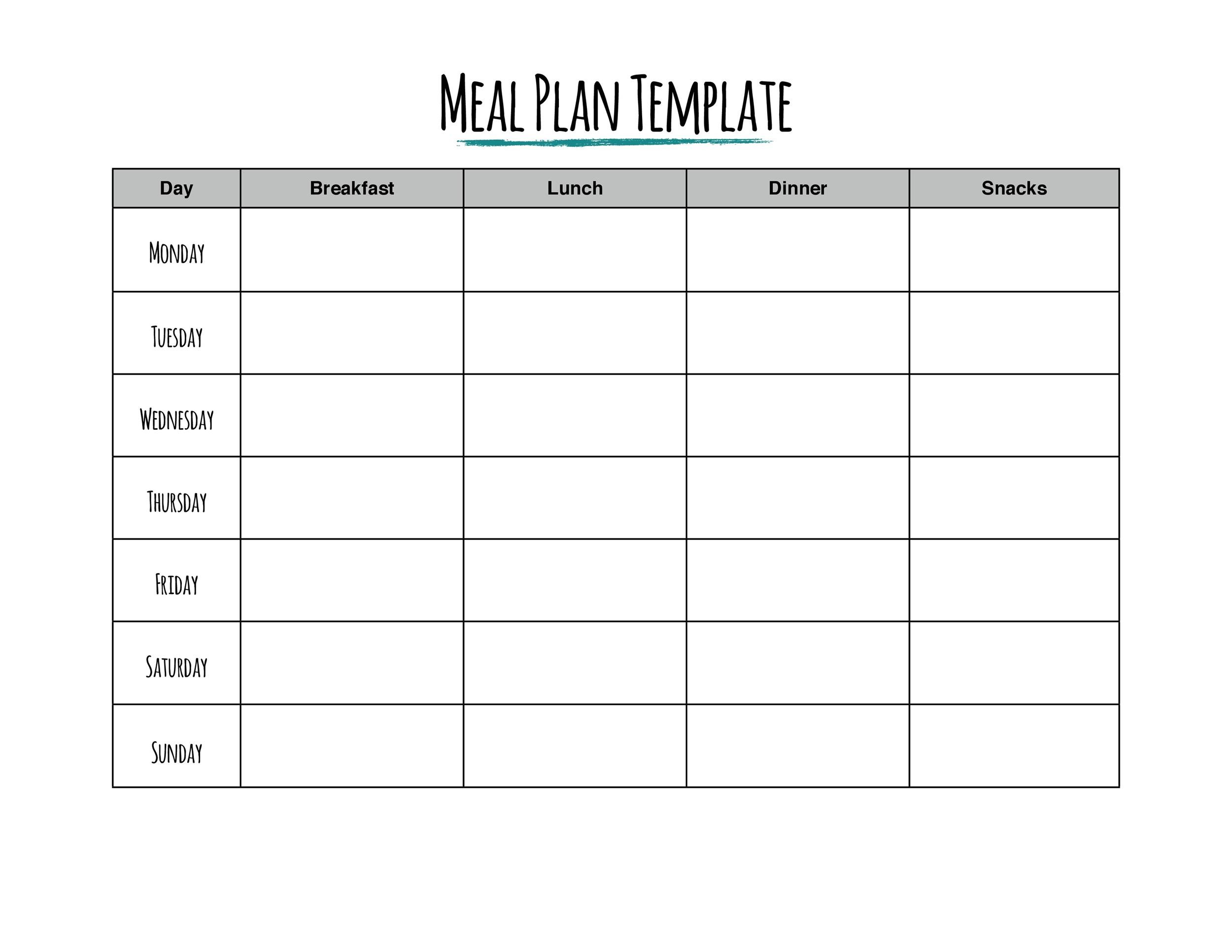 40+ Weekly Meal Planning Templates ᐅ Template Lab