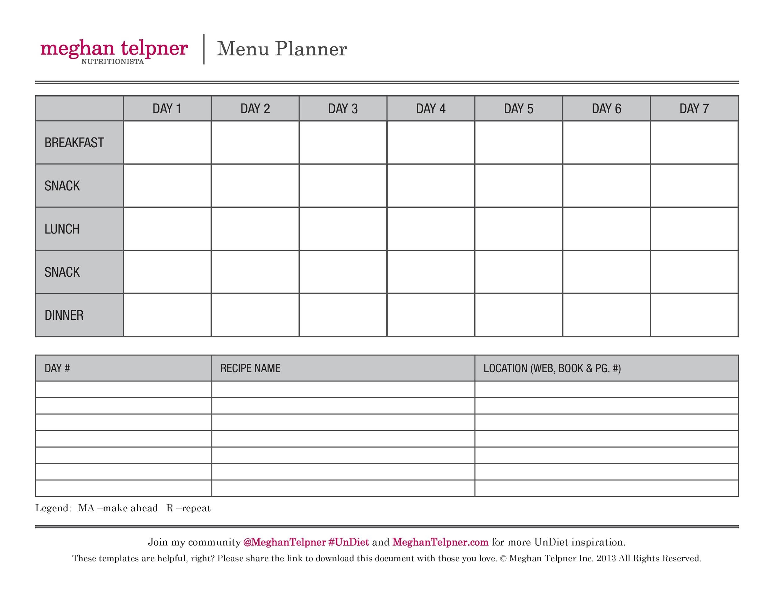 40+ Weekly Meal Planning Templates - Template Lab - free menu planner template
