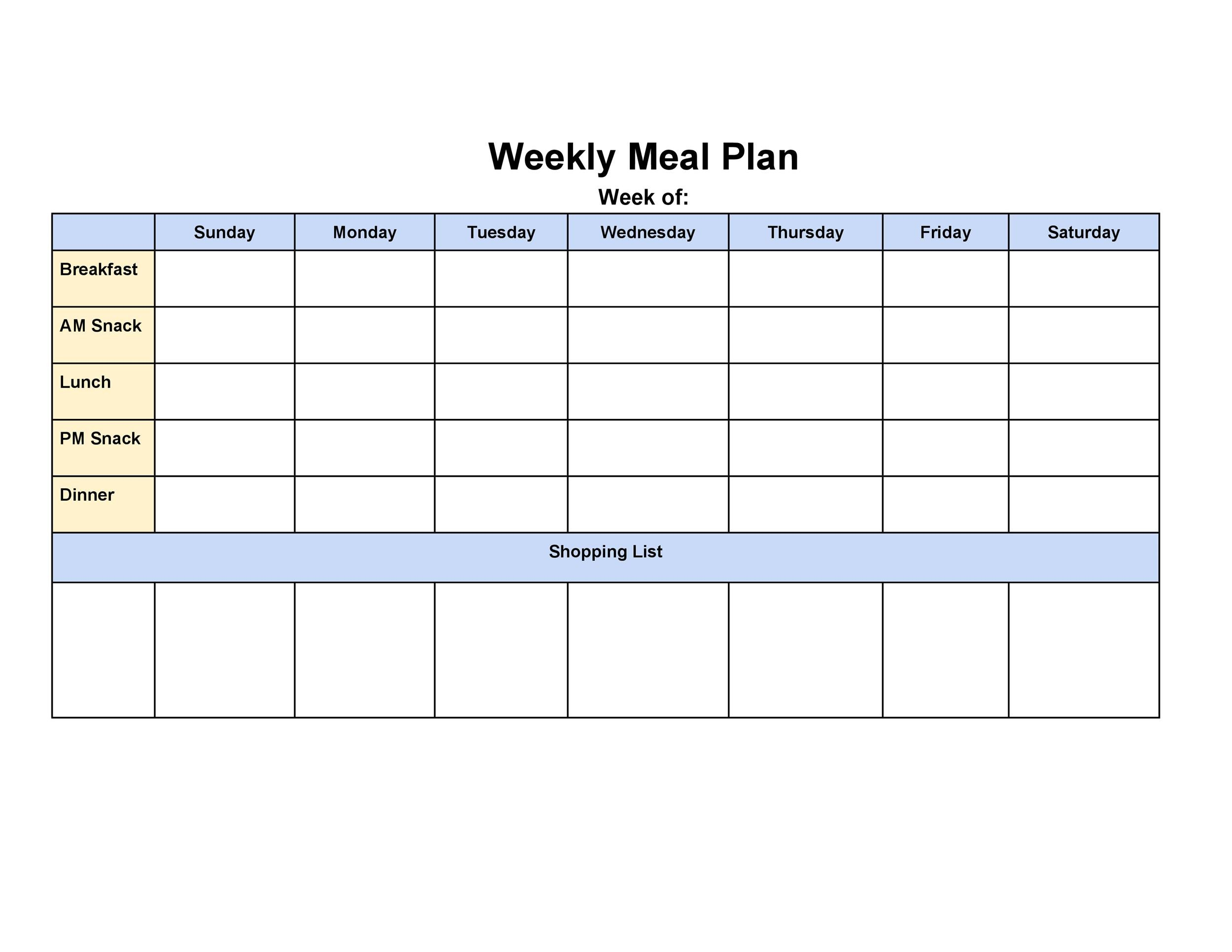 40+ Weekly Meal Planning Templates - Template Lab - meal planning template with grocery list