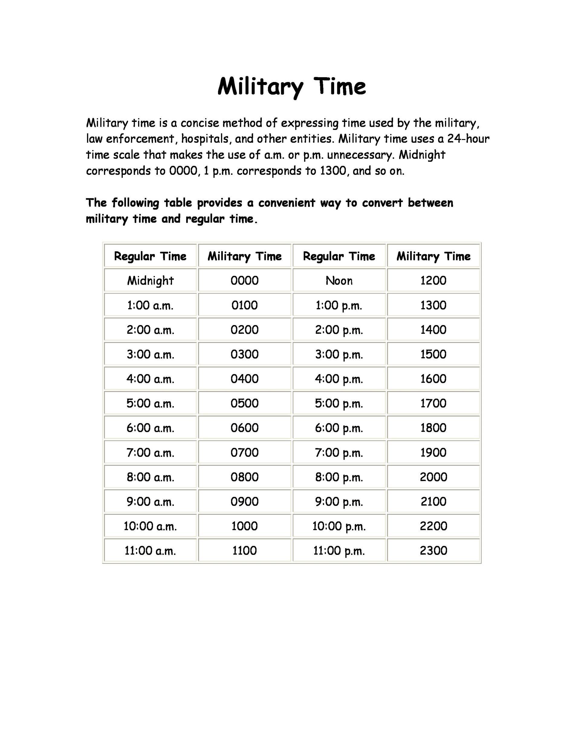 30 Printable Military Time Charts - Template Lab - printable chart template
