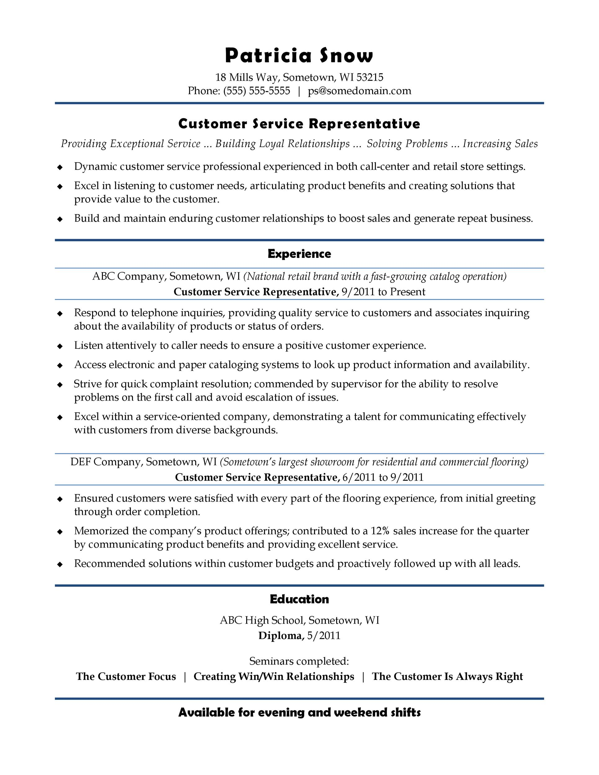 sample functional resume customer service representative