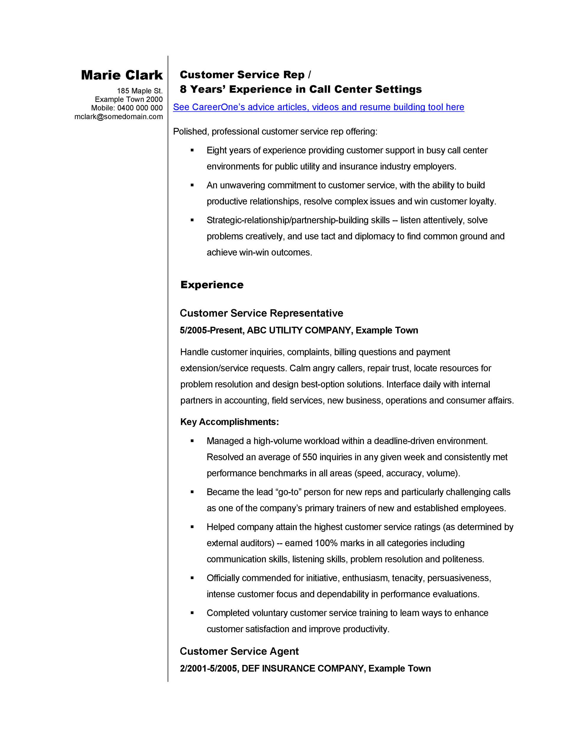 30+ Customer Service Resume Examples - Template Lab - sample of a customer service resume