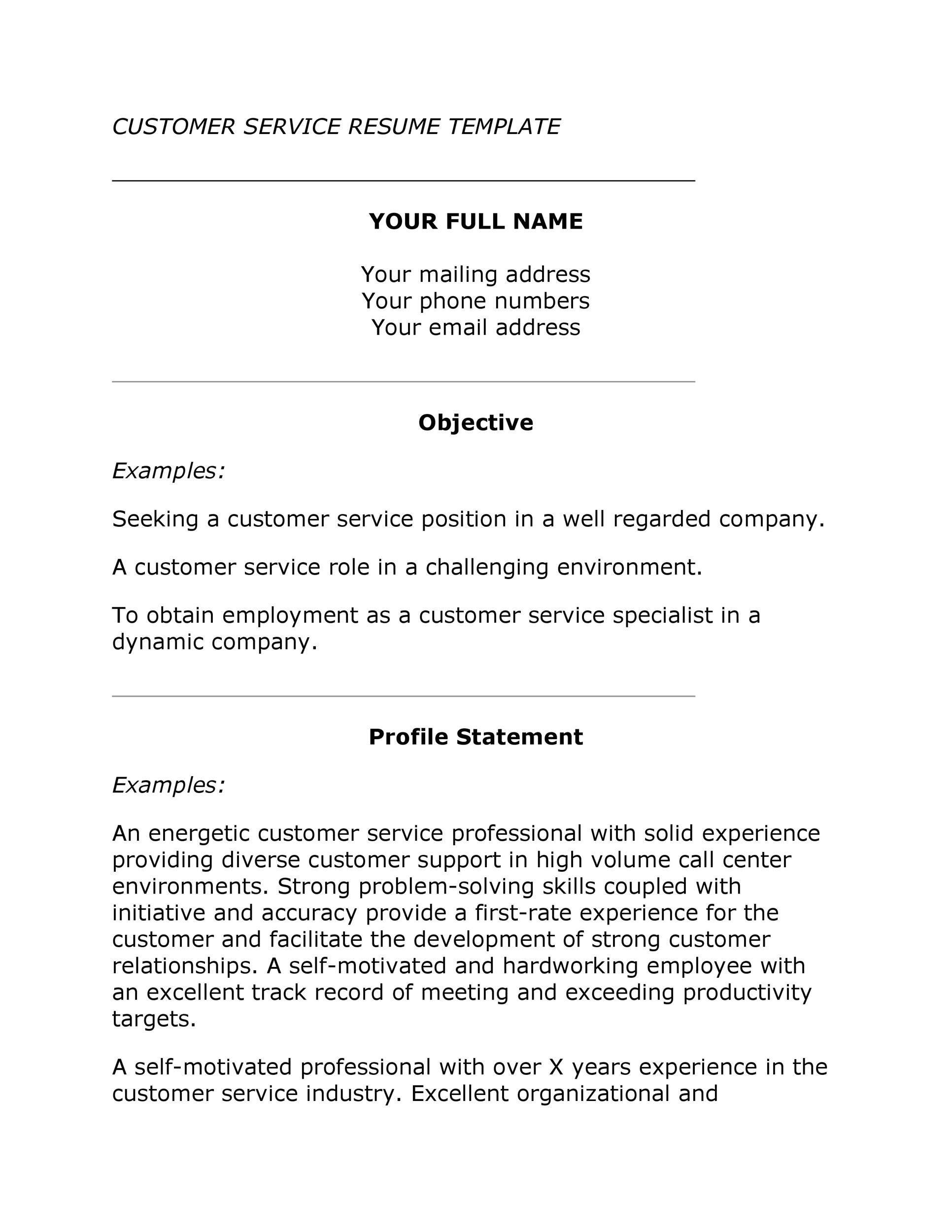 30+ Customer Service Resume Examples - Template Lab - service industry resume