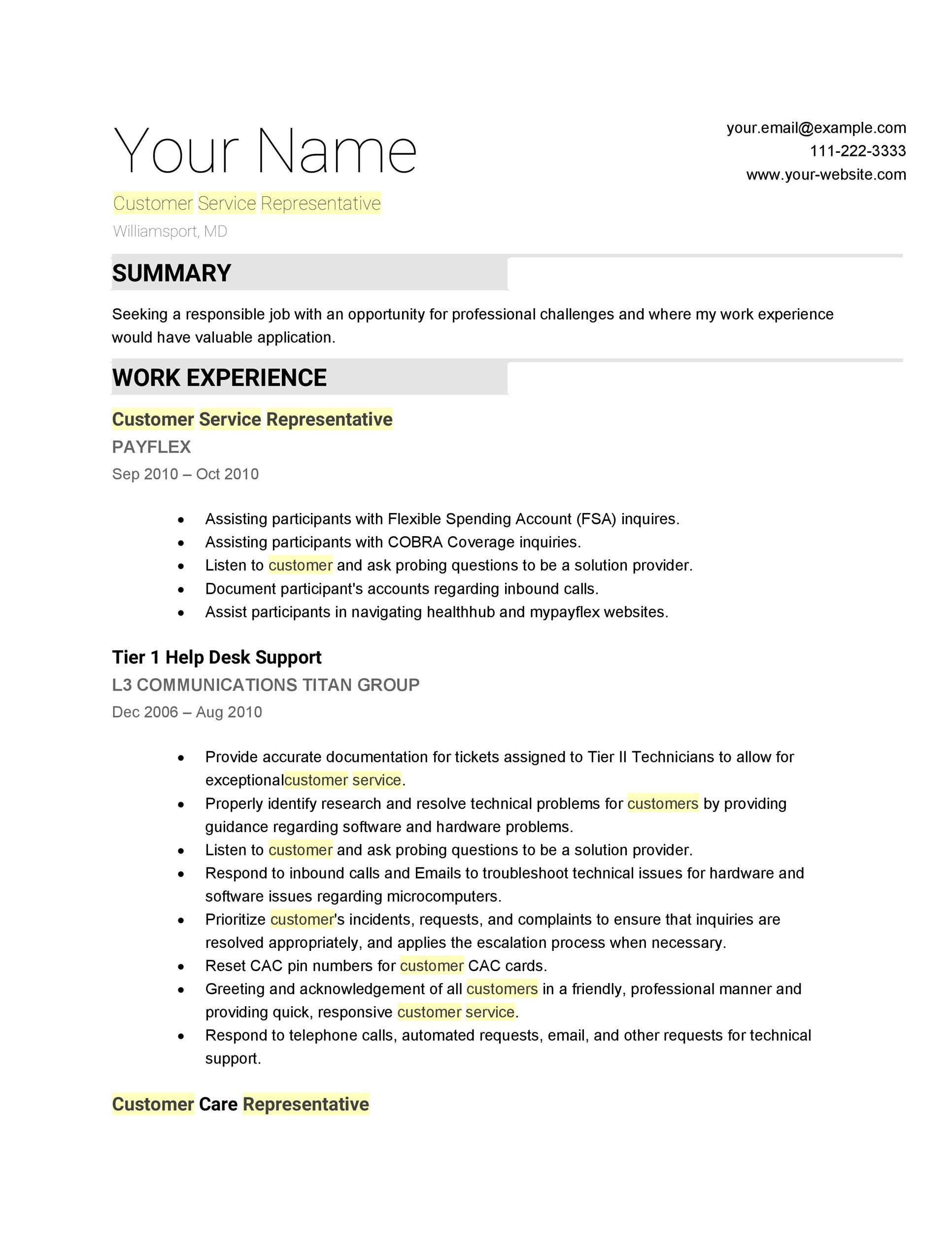 30+ Customer Service Resume Examples - Template Lab - sample resume for customer service position
