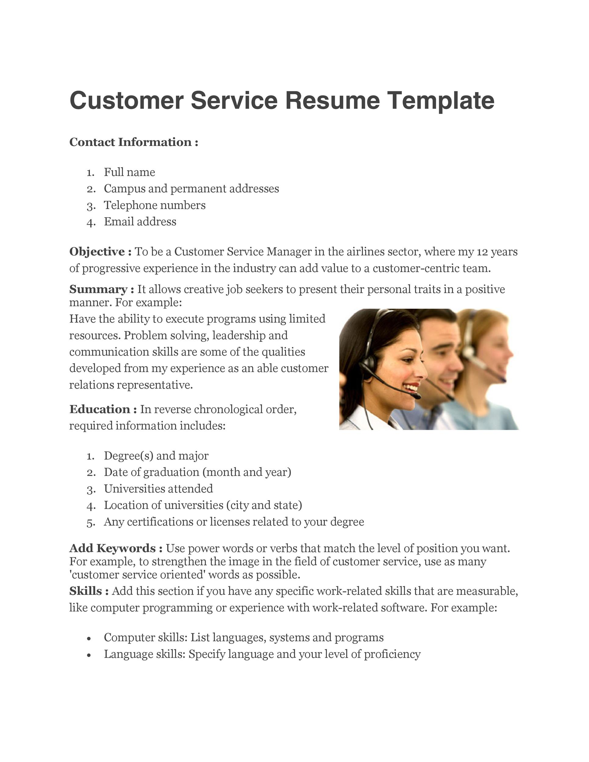 30+ Customer Service Resume Examples - Template Lab - customer service skills list resume