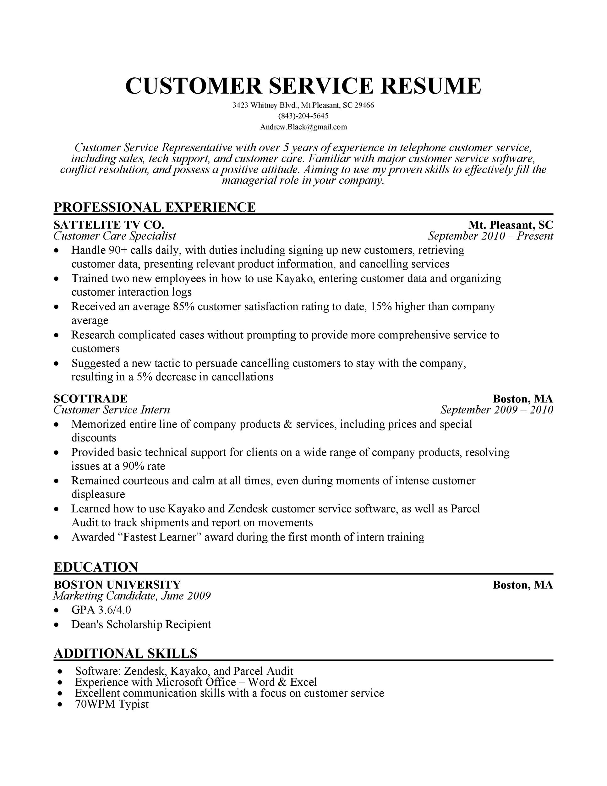30+ Customer Service Resume Examples - Template Lab - customer service resume template free