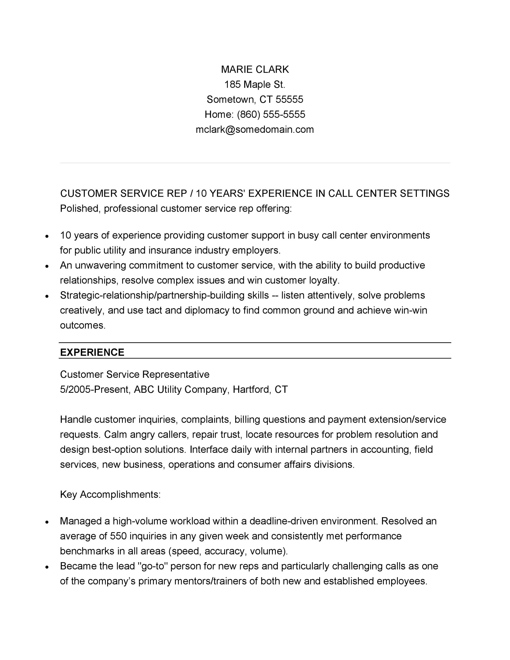 30+ Customer Service Resume Examples - Template Lab - Best Chosen Resume Format