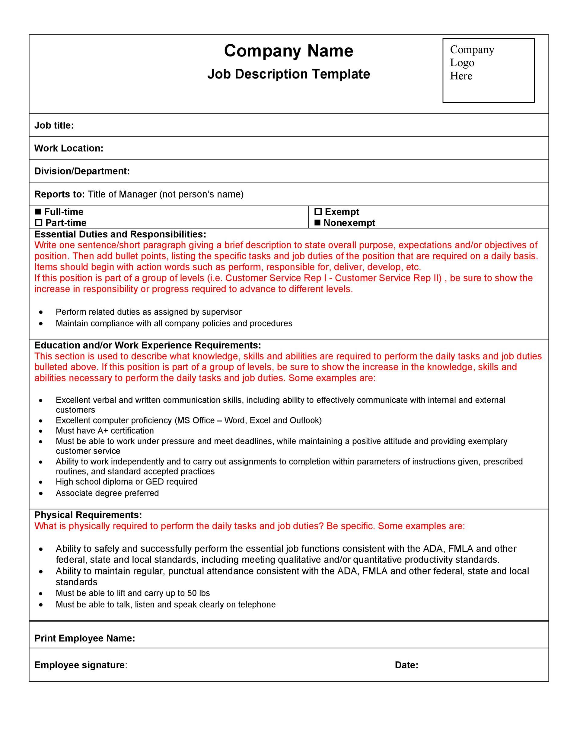 Job Description Evaluation Template – Job Evaluation Template