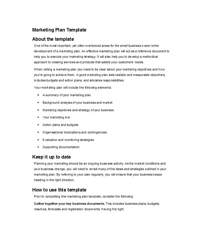 30 Professional Marketing Plan Templates - Template Lab - marketing business plan template