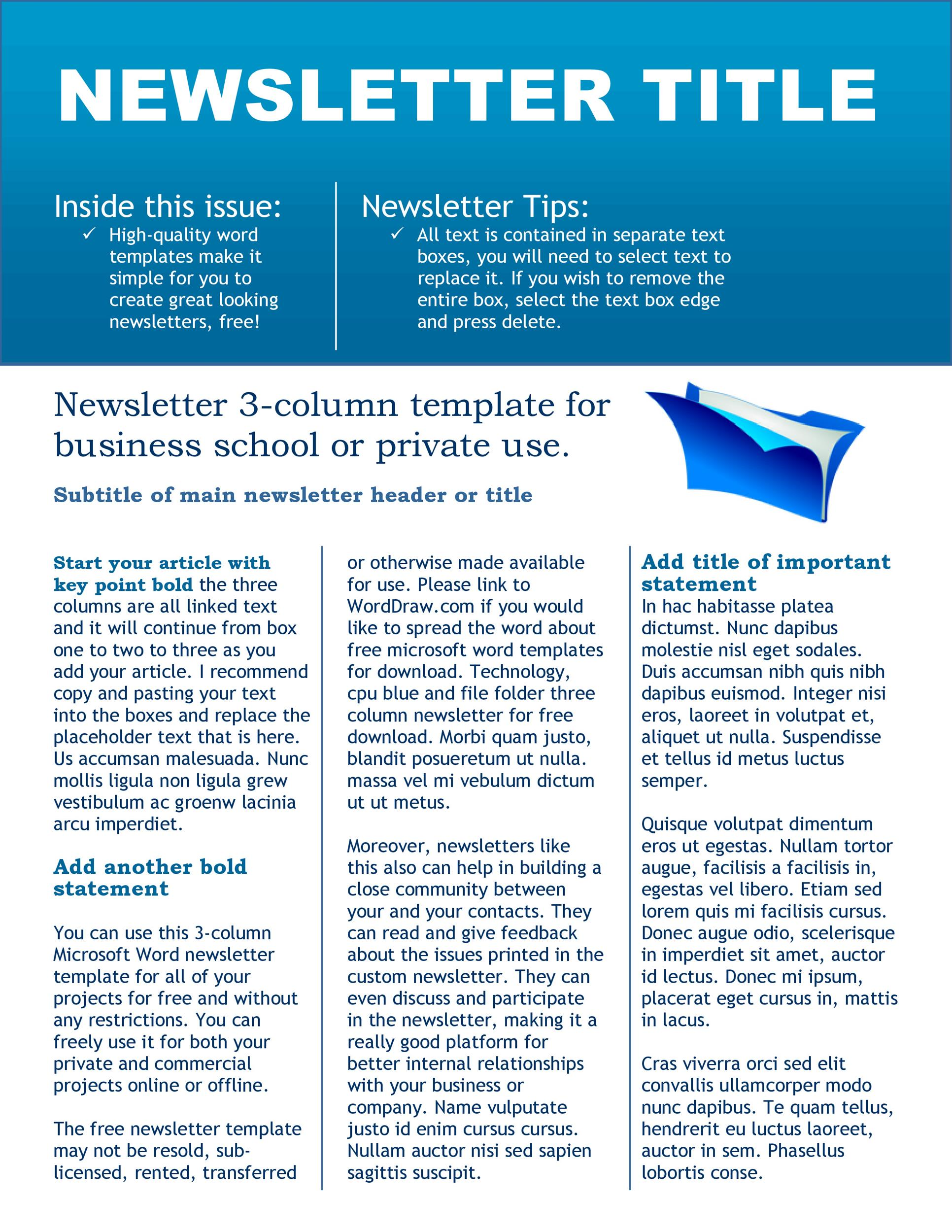 50 FREE Newsletter Templates for Work, School and Classroom - Newsletter Templates Free Word